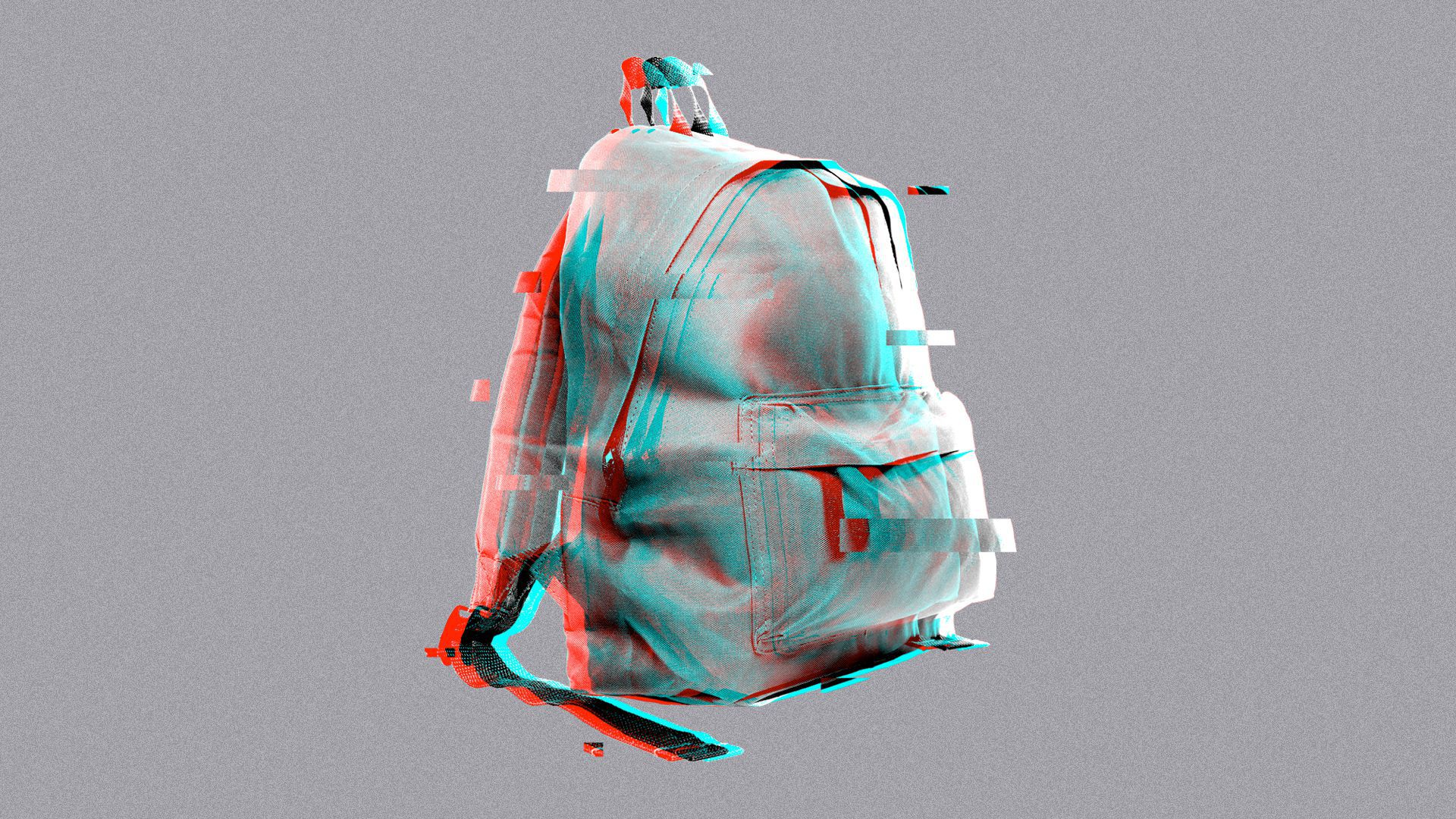 Illustration of a backpack with digital glitching.