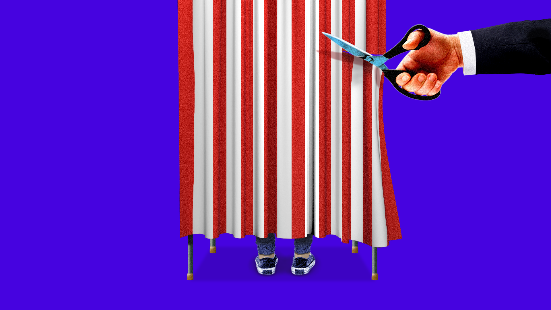 Illustration of scissors cutting a polling both drape.