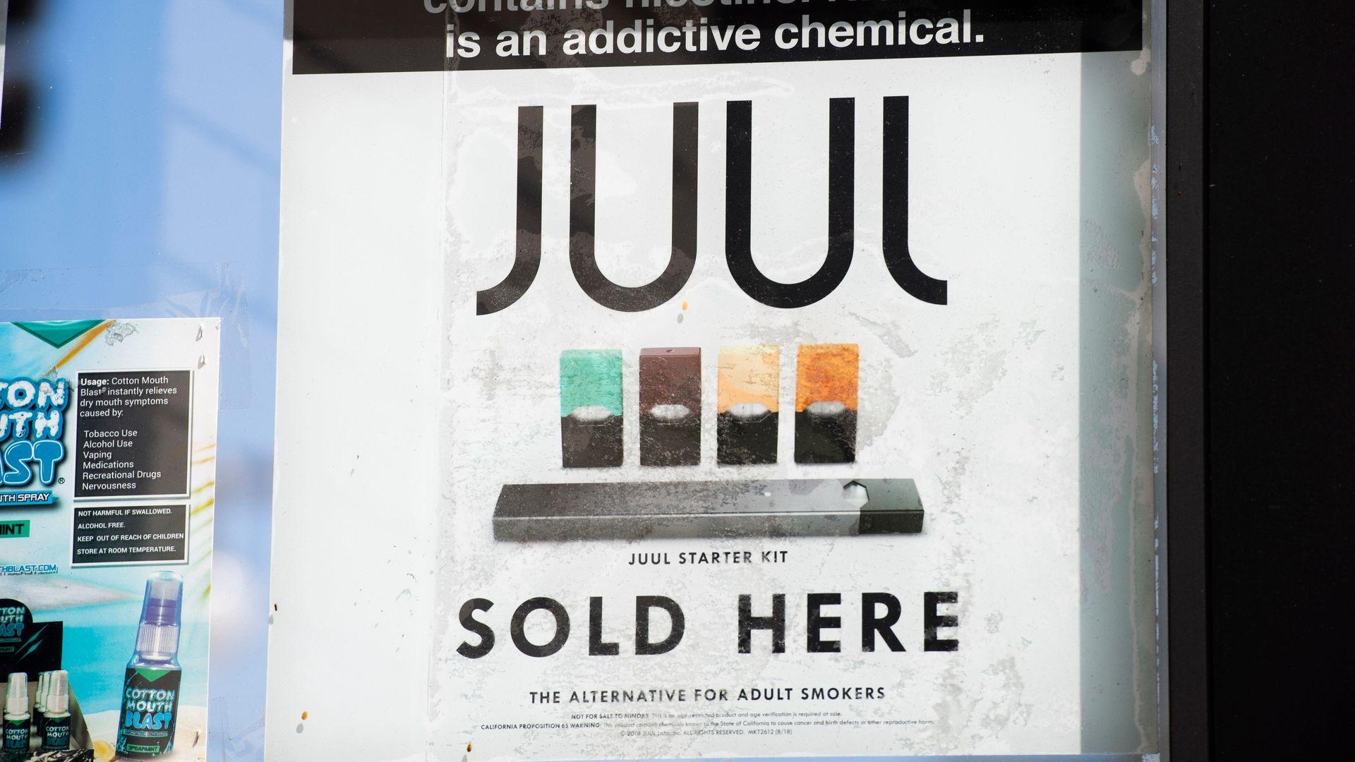 juul sign in the window