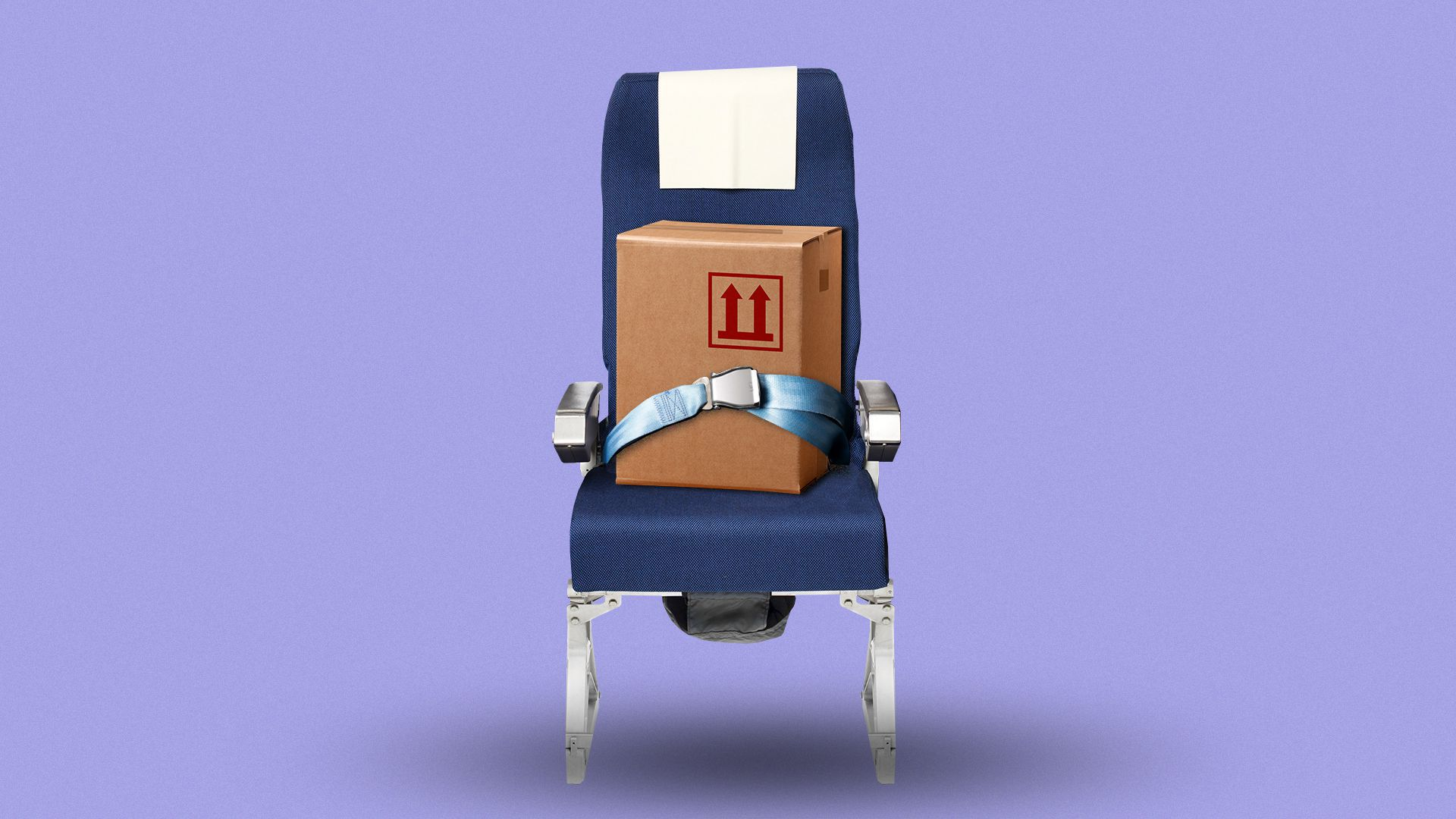 Illustration of an airplane seat with a shipping cardboard box buckled in.