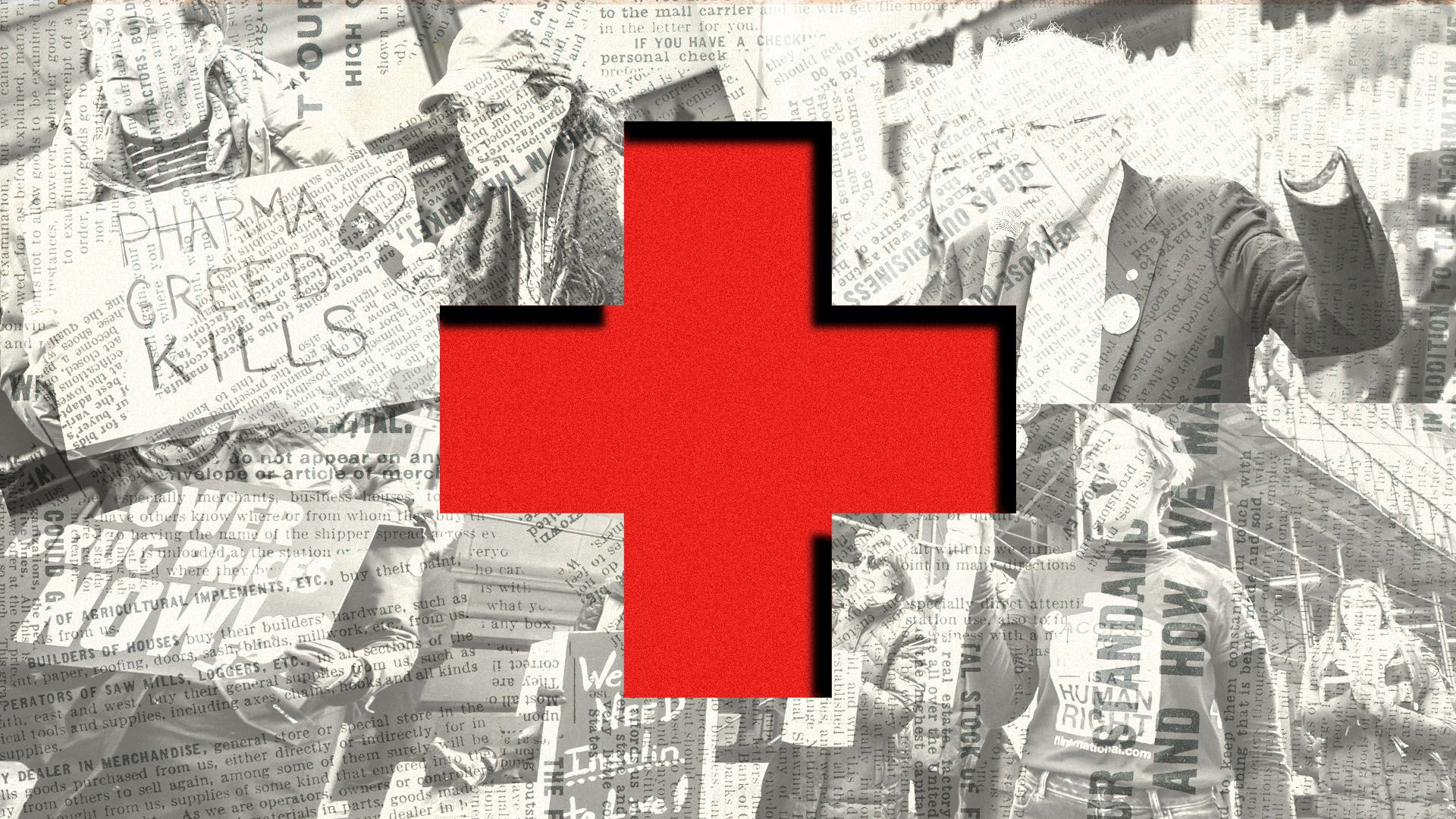 Photo illustration of people protesting health care costs and Democratic presidential candidate Bernie Sanders talking about the cost of insulin in the USA versus Canada, overlaid with a red cross
