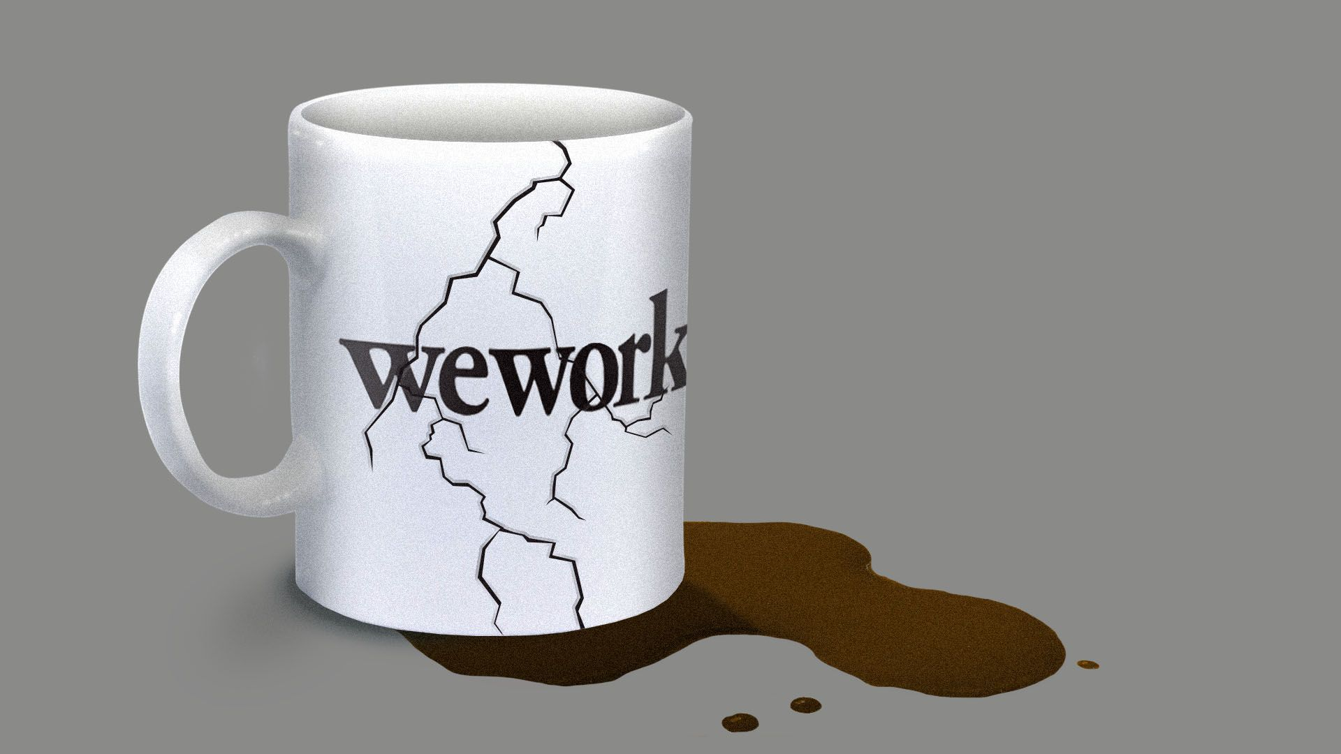 Illustration of a broken coffee mug with a WeWork logo on it.