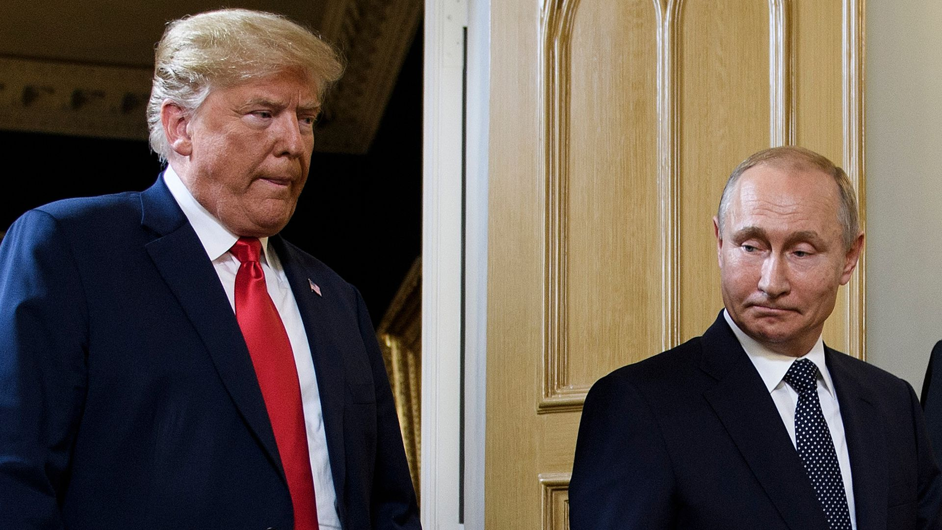 President Trump and Russian President Vladimir Putin arrive for a meeting in Helsinki.