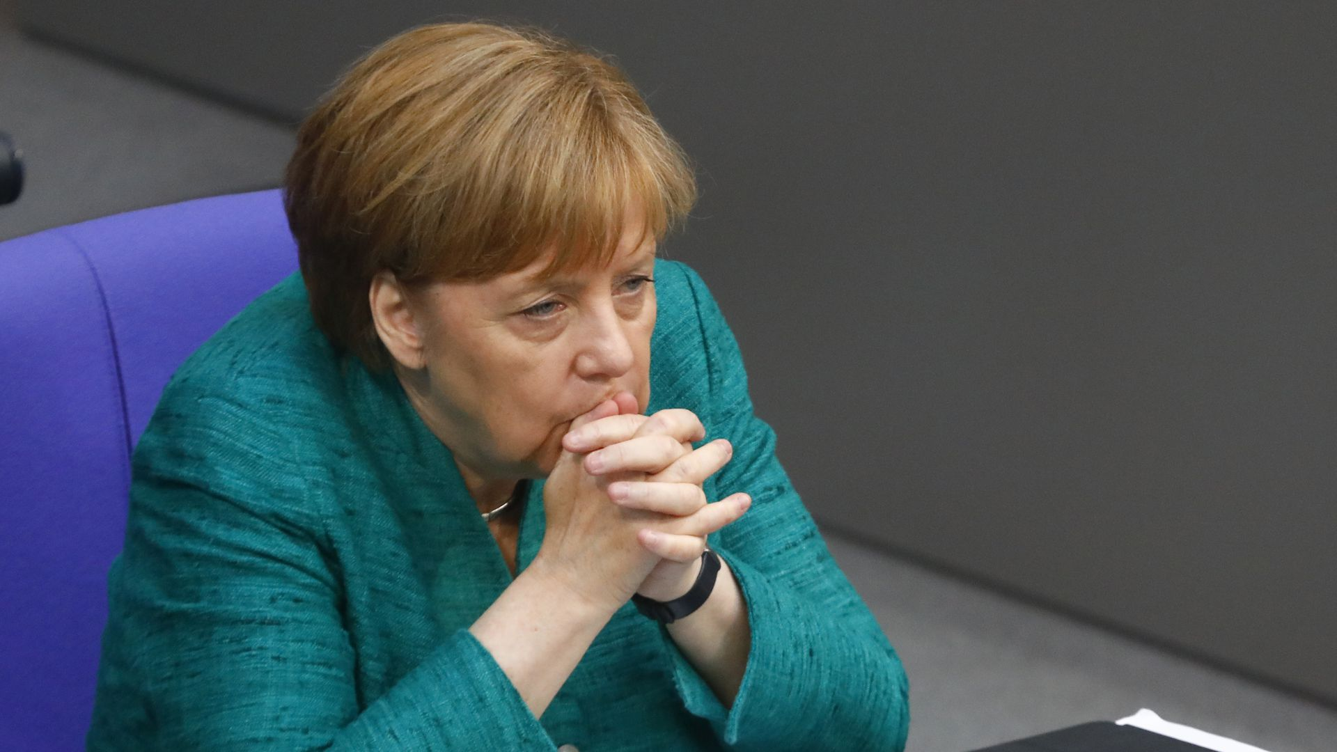 German Chancellor Angela Merkel sits down after she gave a government declaration at the Bundestag ahead of the upcoming E.U. and NATO summits on June 28, 2018 in Berlin, Germany.