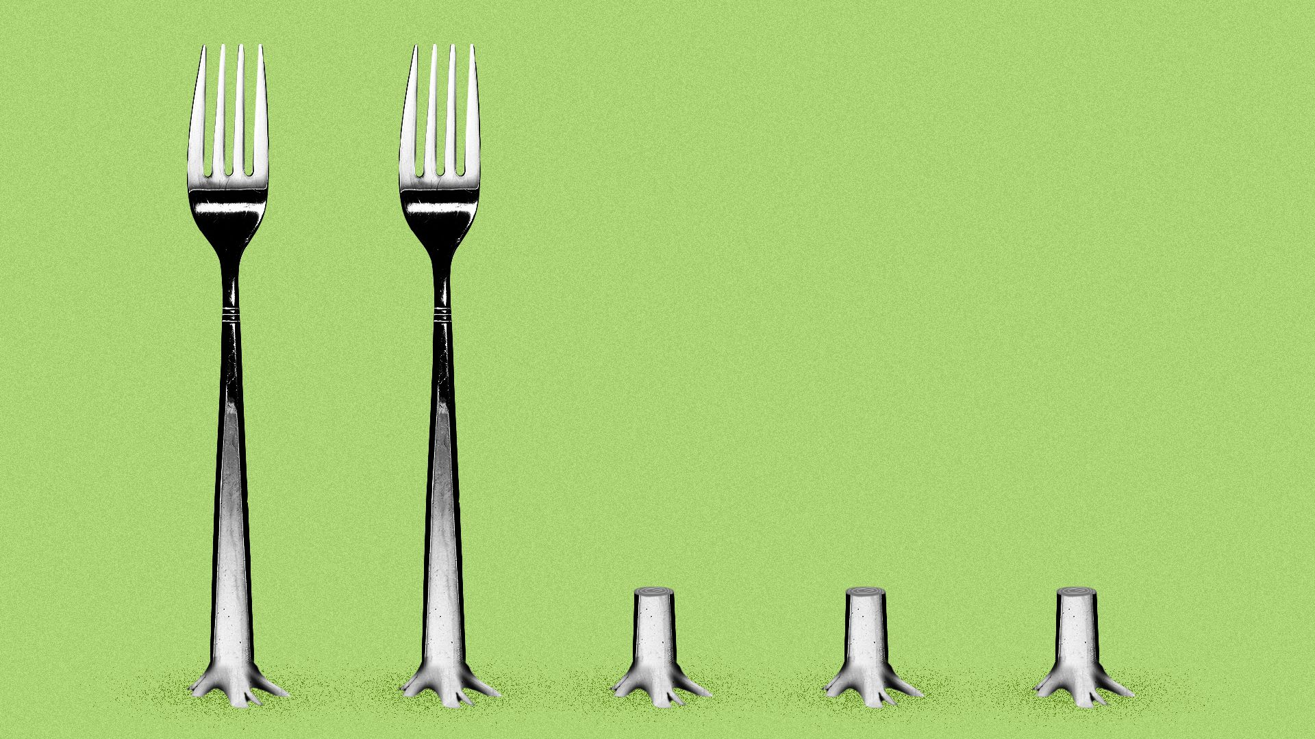 Illustration of forks being cut down as if they were trees.