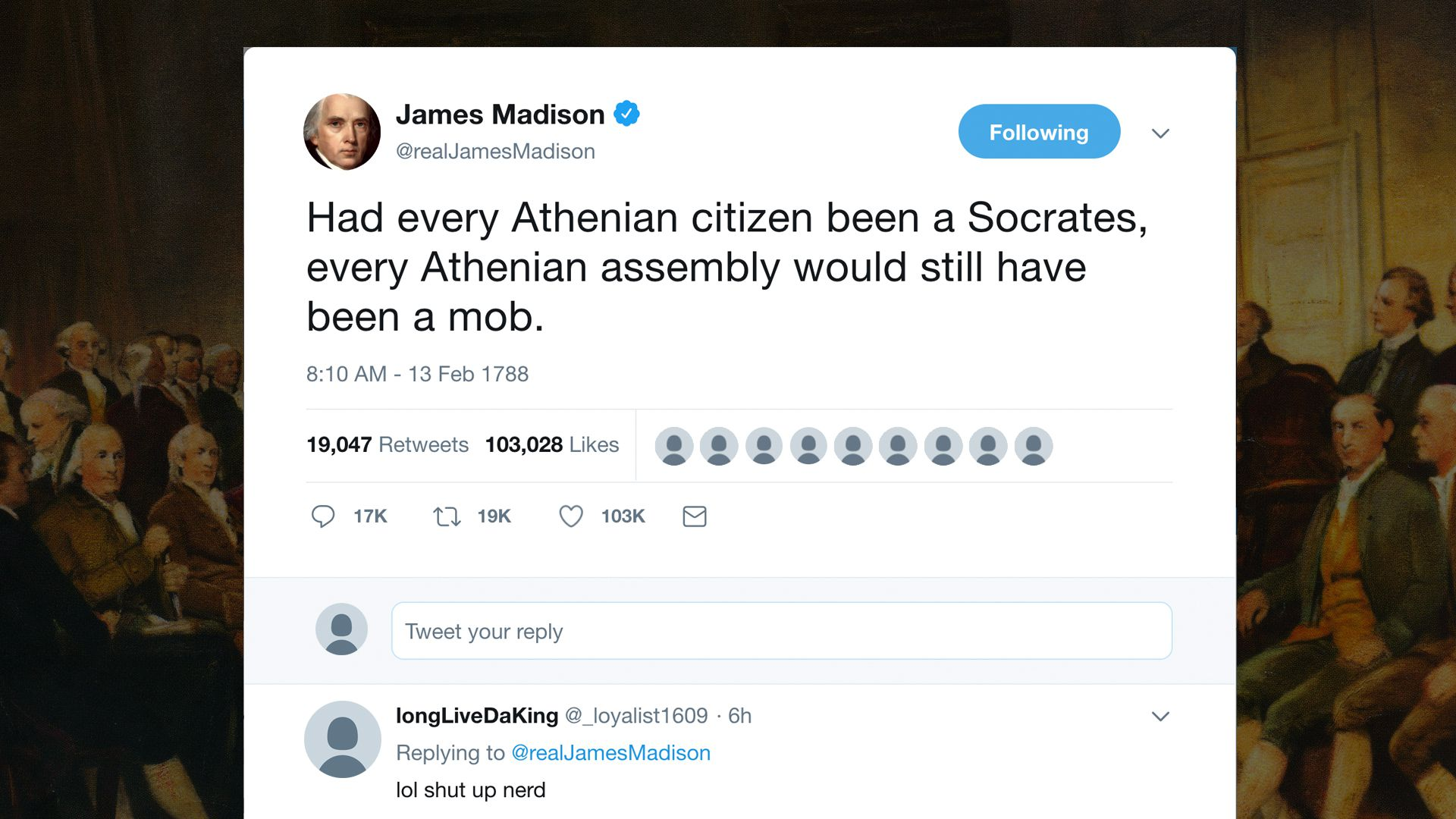"A ""tweet"" from James Madison"