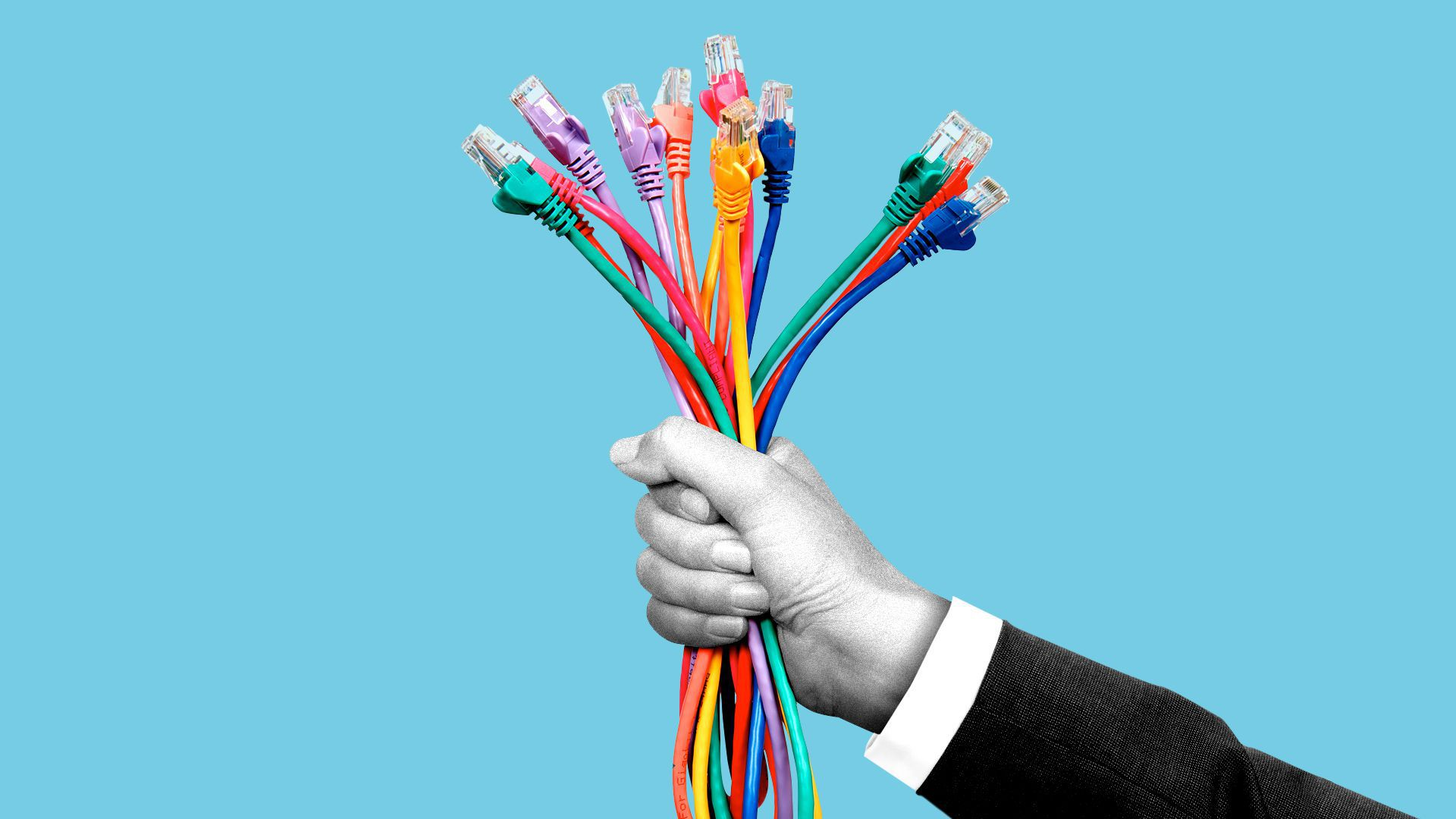 Illustration of a suited hand holding out a lot of ethernet cables.
