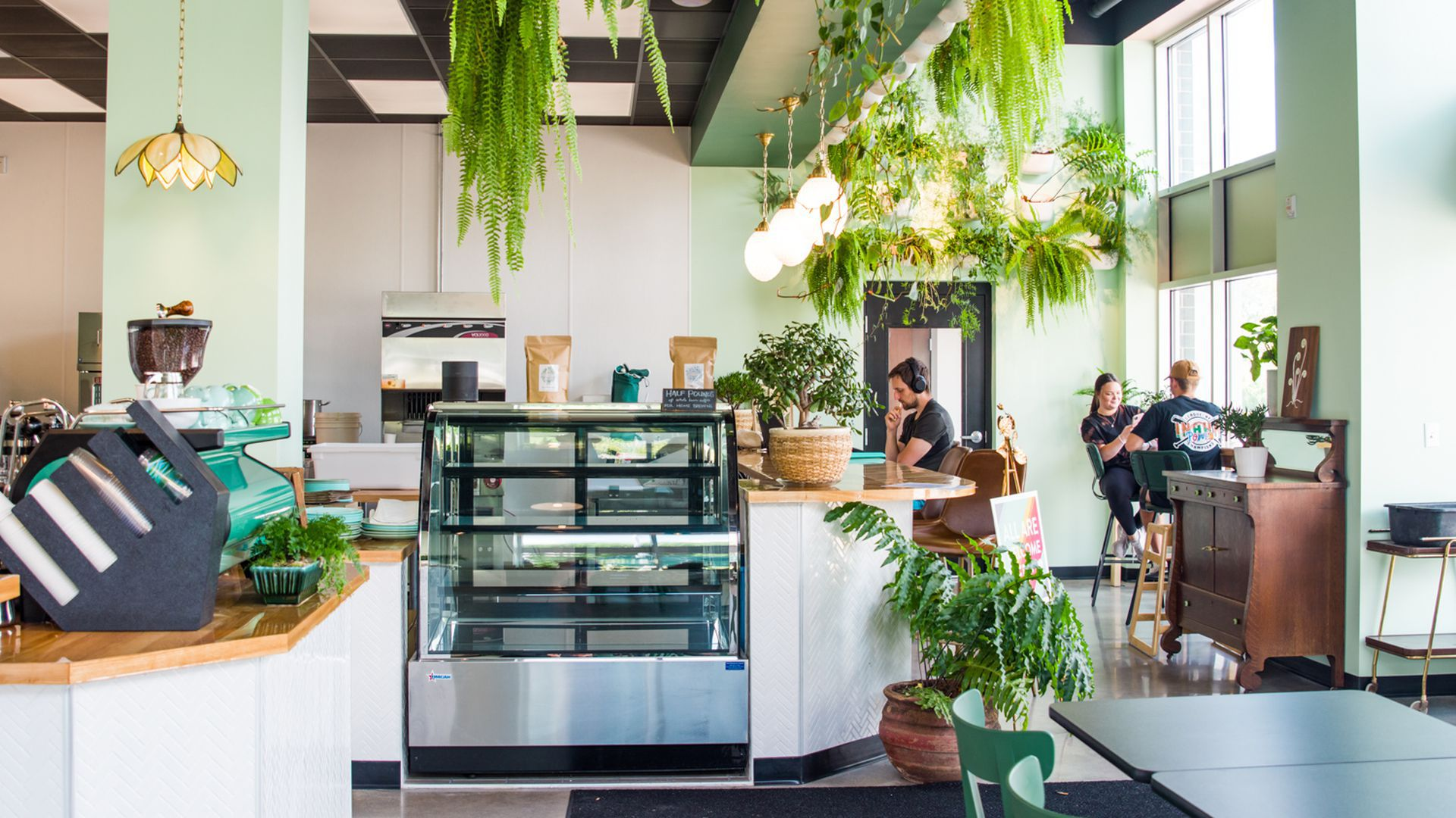 The interior of a Fiddlehead coffee shop in Minnesota.