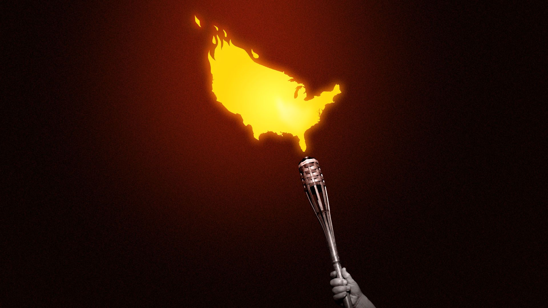 Illustration of a hand holding a tiki torch with a flame in the shape of the United States