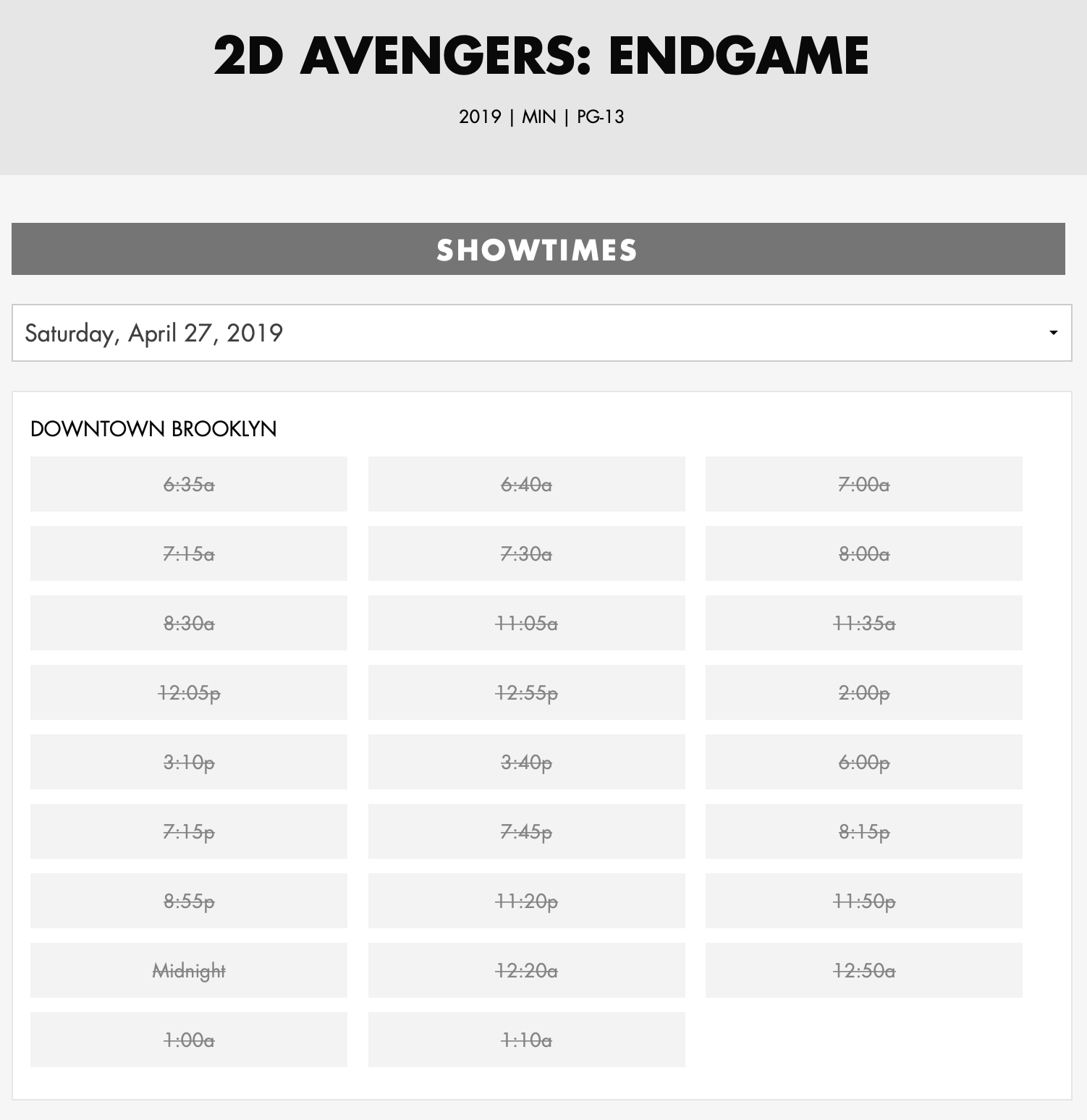 Avengers is sold out
