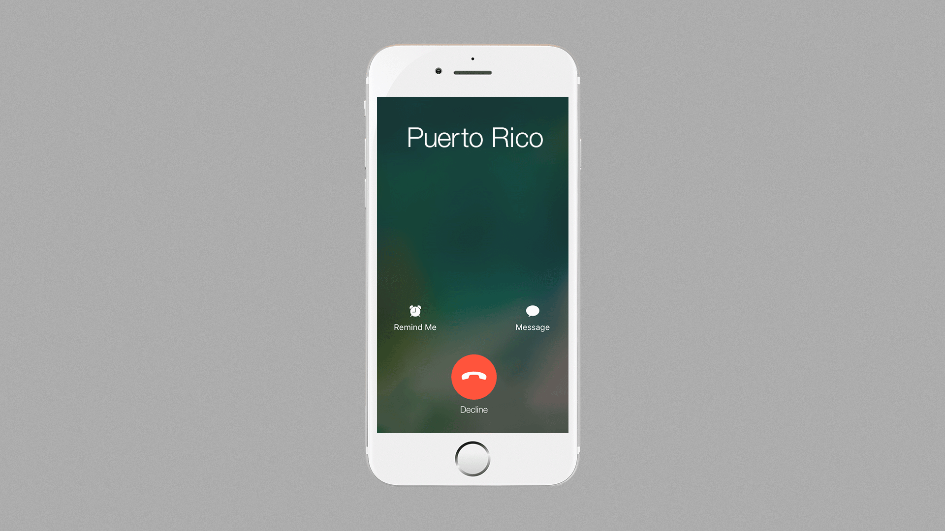 Illustration of an iPhone receiving a call from Puerto Rico, the only option is to decline the call.