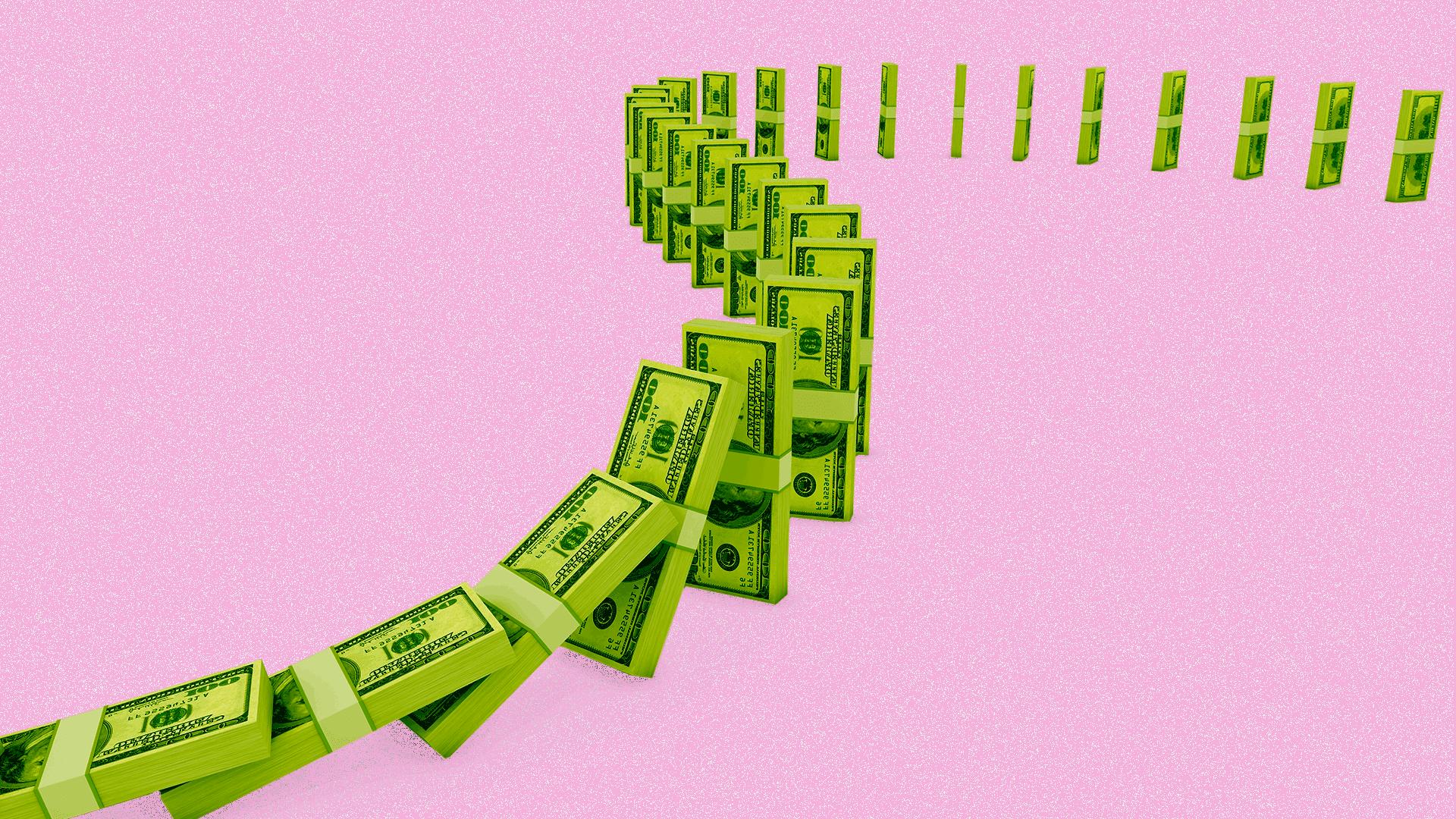 stacks of money falling down like dominoes
