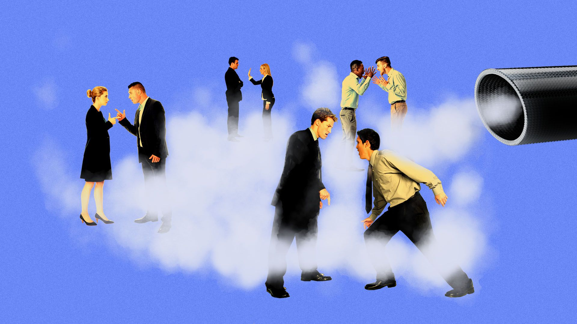 Illustration of multiple sets of business people arguing in the exhaust of a giant tailpipe