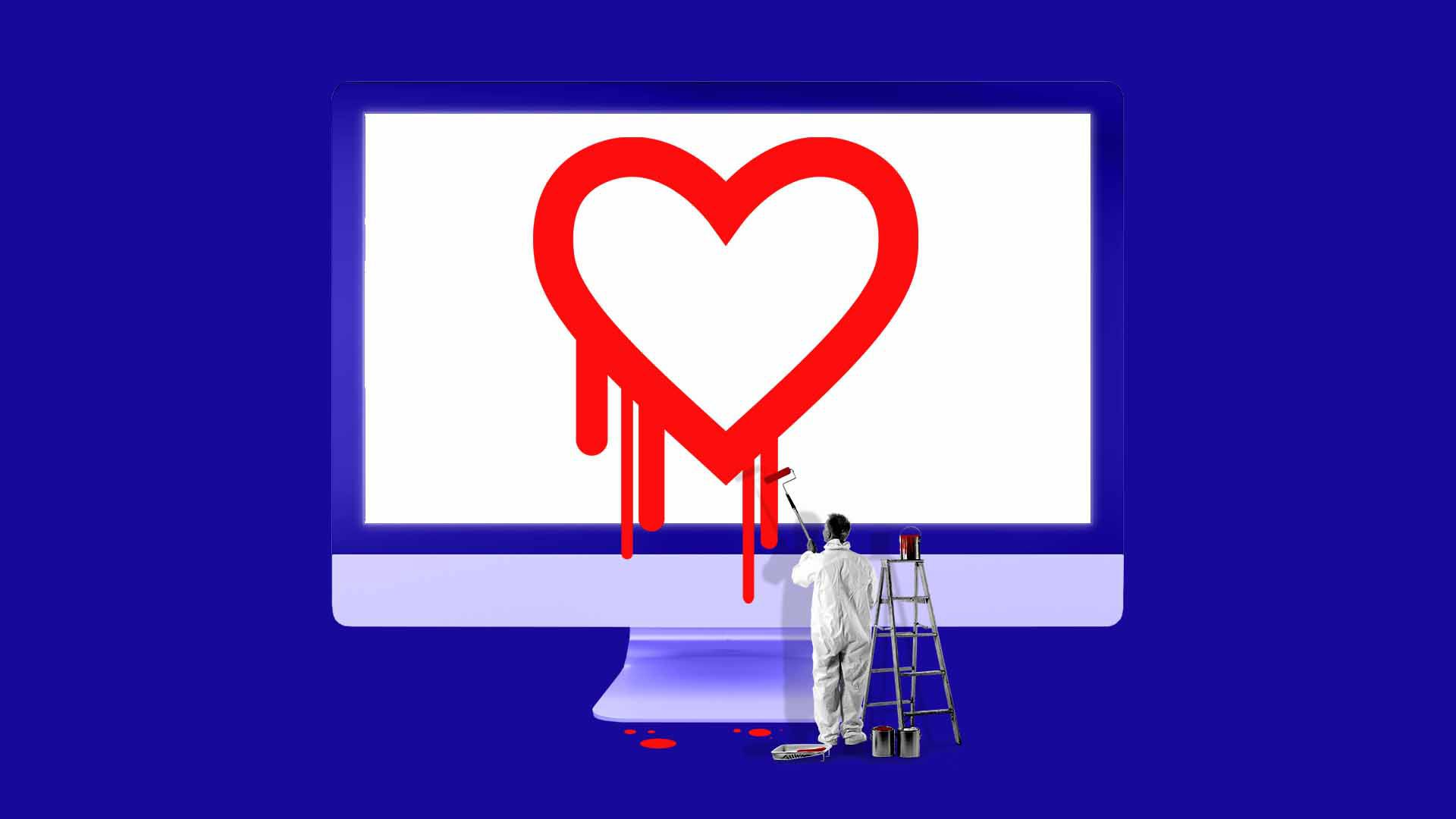 Illustration of a tiny painter painting the Heartbleed logo on a desktop monitor