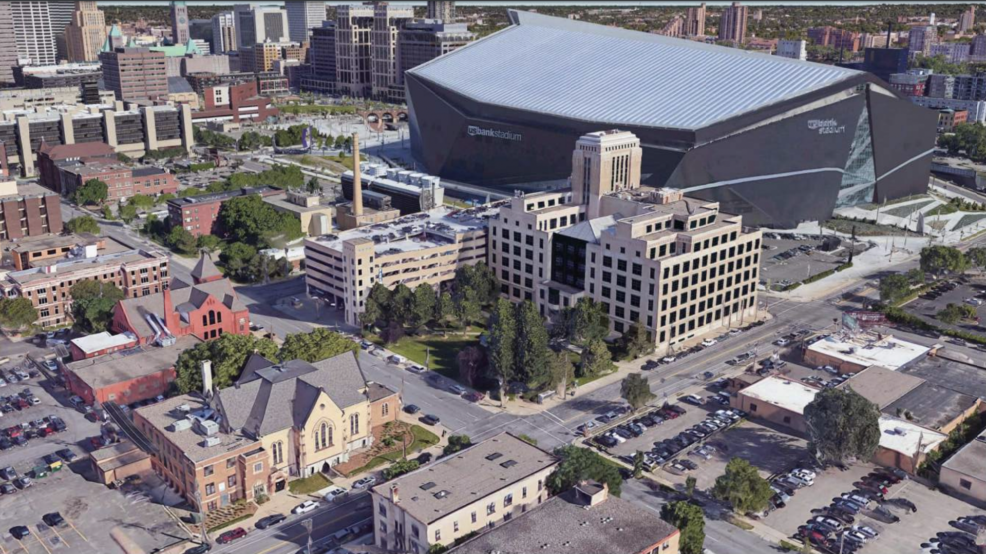 An aerial shot of Minneapolis' Strutwear Knitting Building near U.S. Bank Stadium.