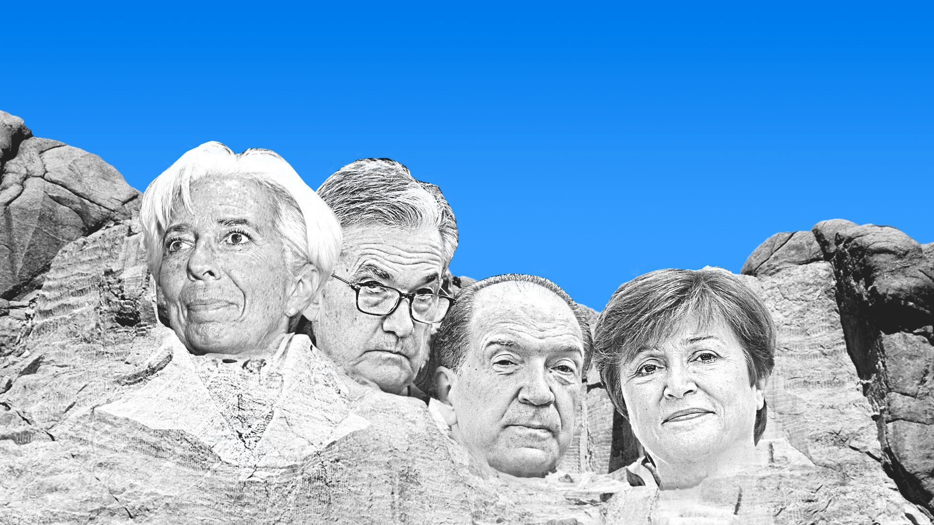 The faces of Christine Lagarde, Jerome Powell, David Malpass and Kristalina Georgieva carved into a mountain.