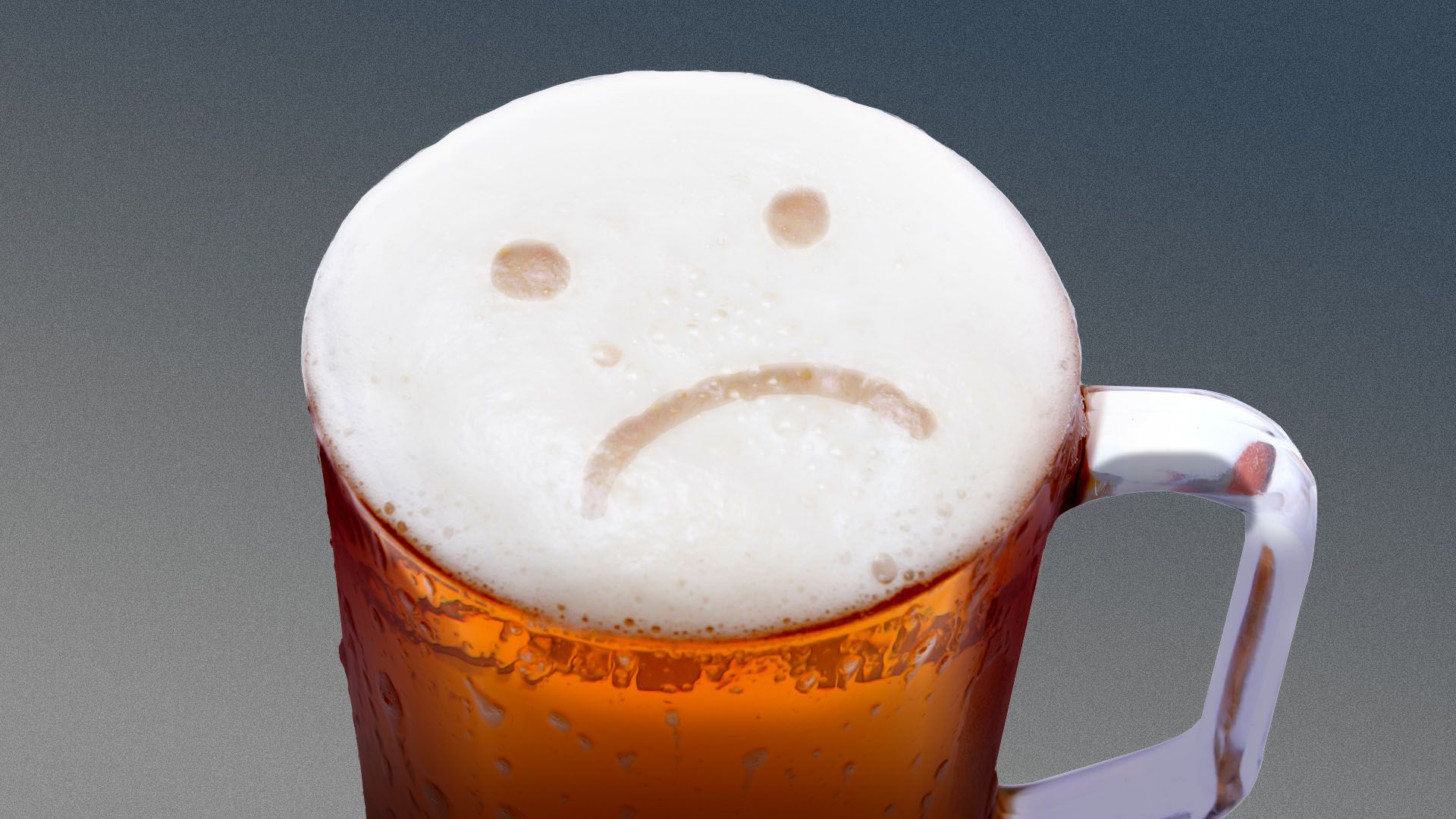 Illustration of a mug of beer, with a sad face in the foam