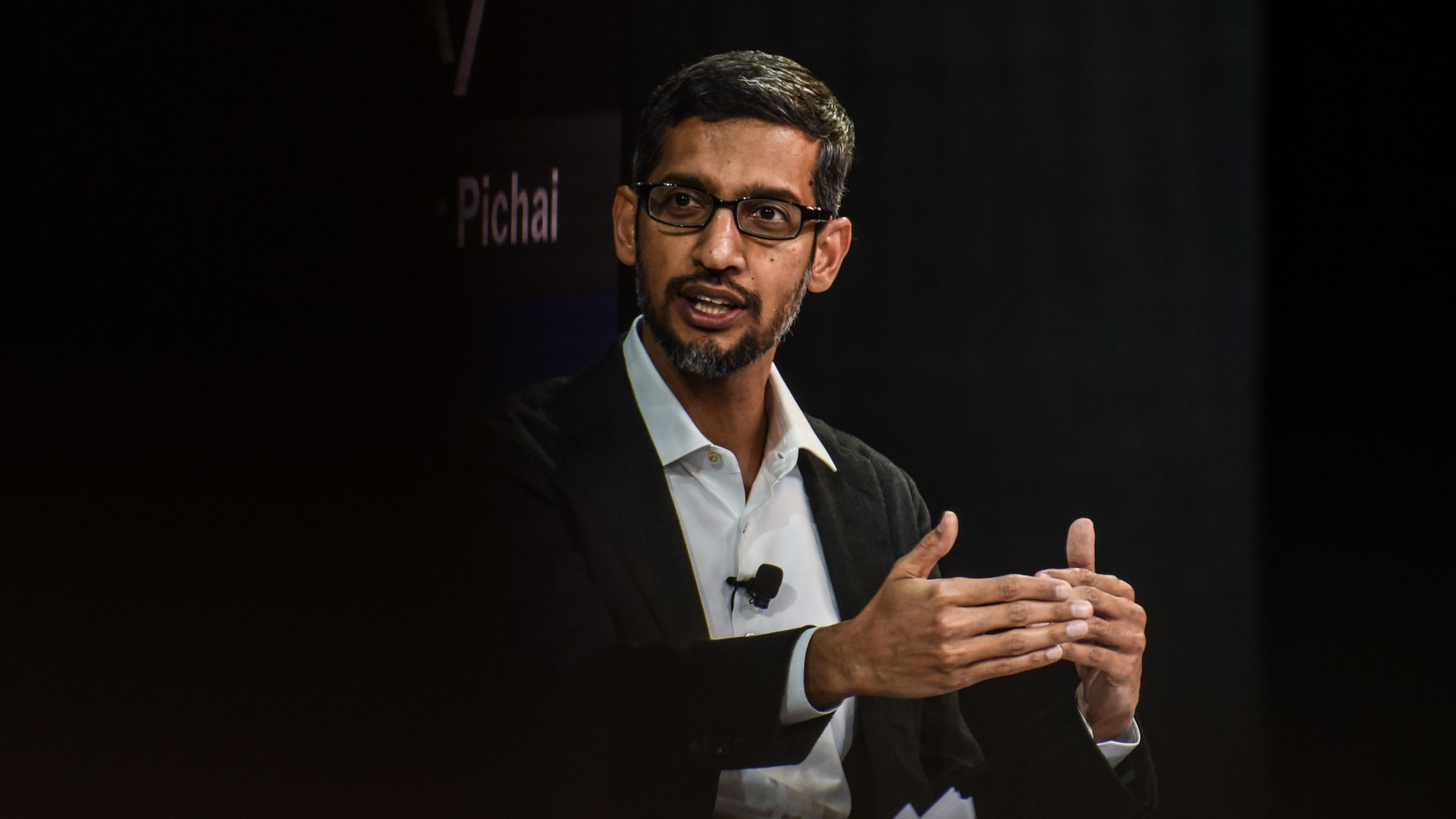 Sundar Pichai speaks at a conference