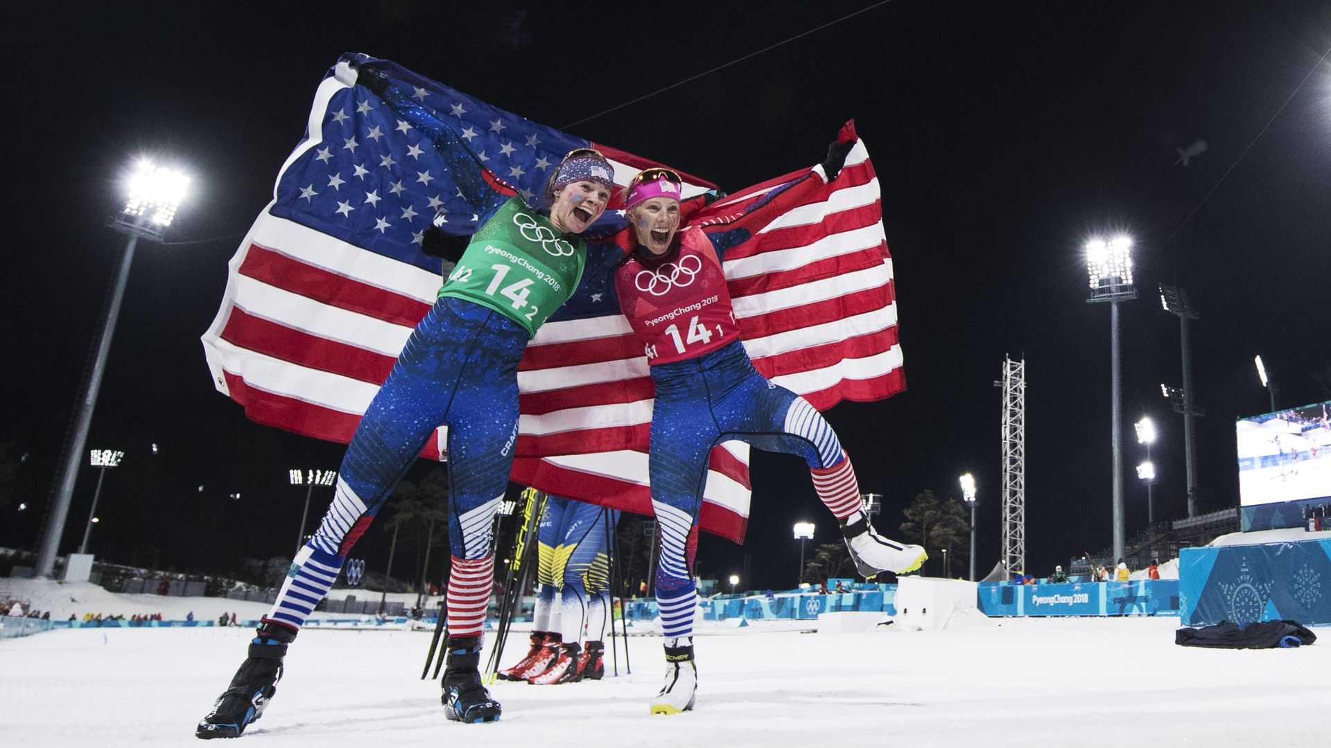 Kikkan Randall and Jessica Diggins at the Olympics.