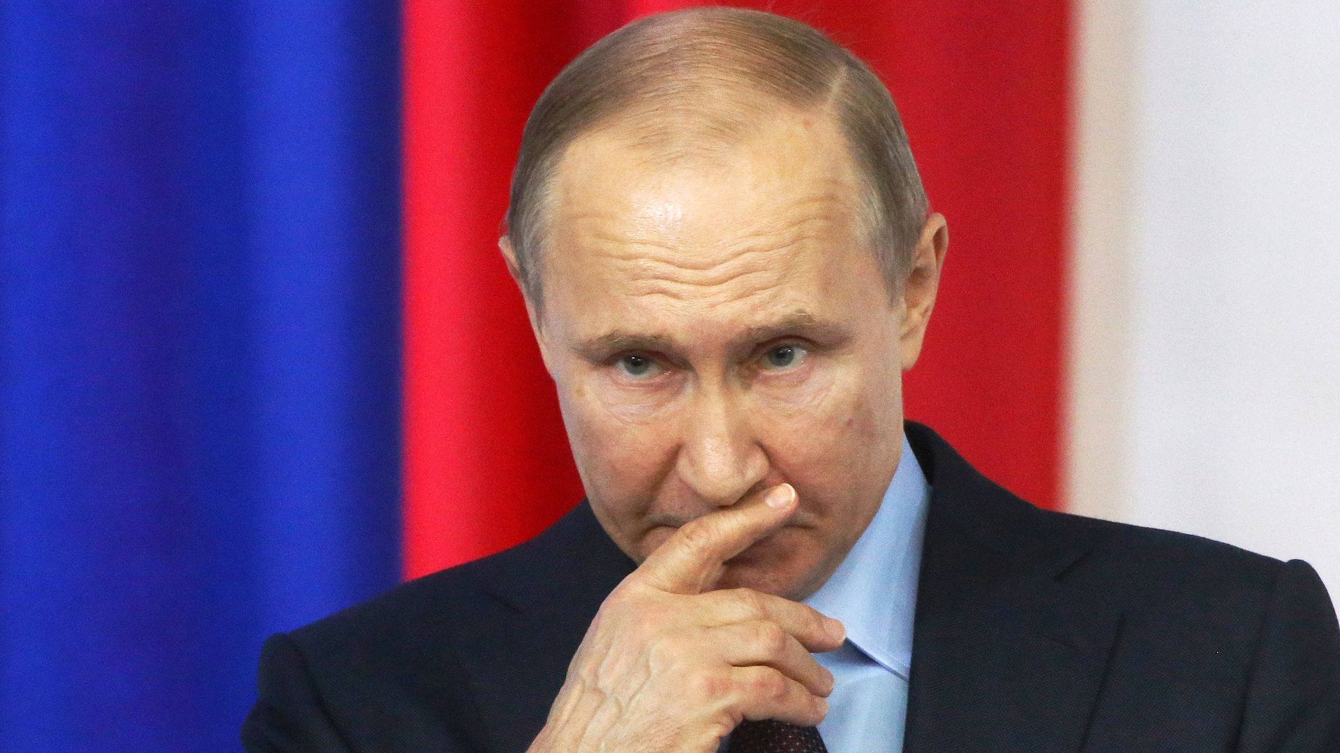 President Putin gives a speech while campaigning for re-election