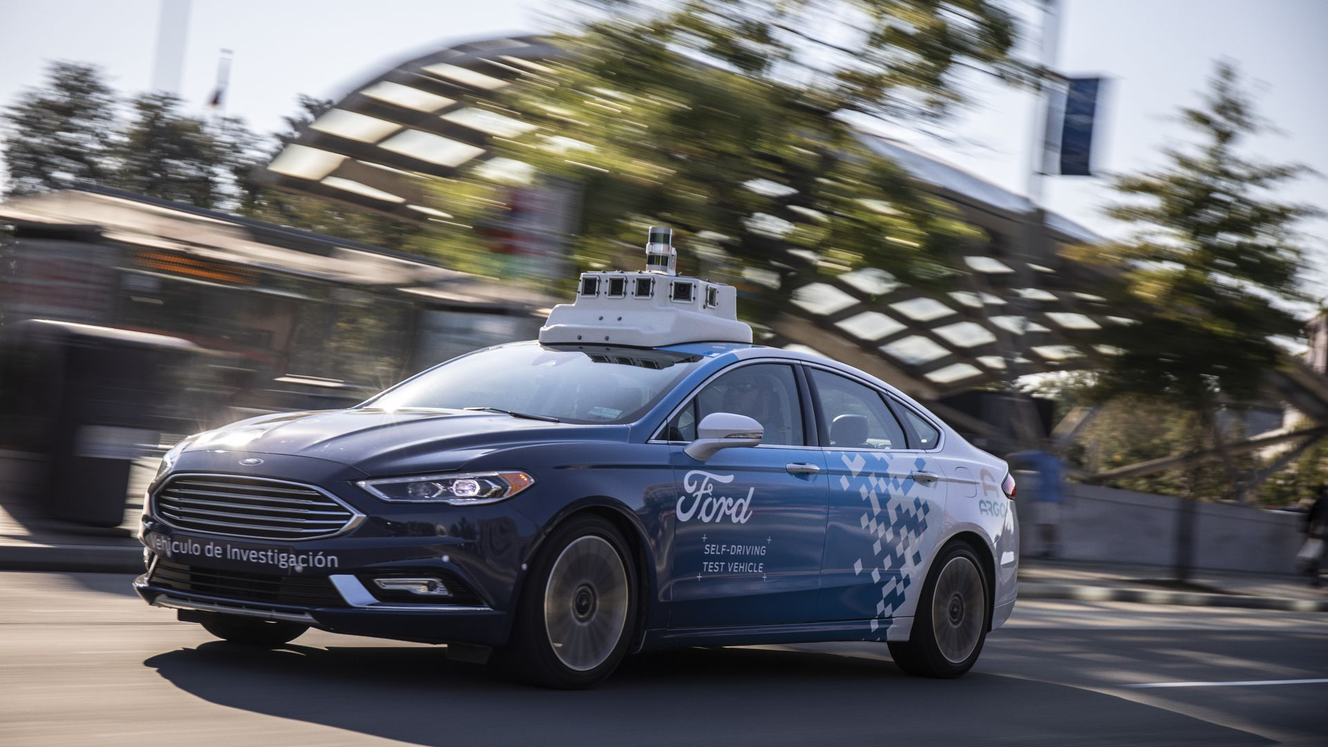 One of Ford's self-driving test vehicles on the streets of Washington, D.C.