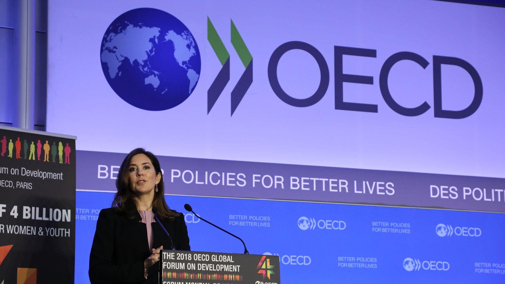 Crown princess of Denmark speaks during OECD forum
