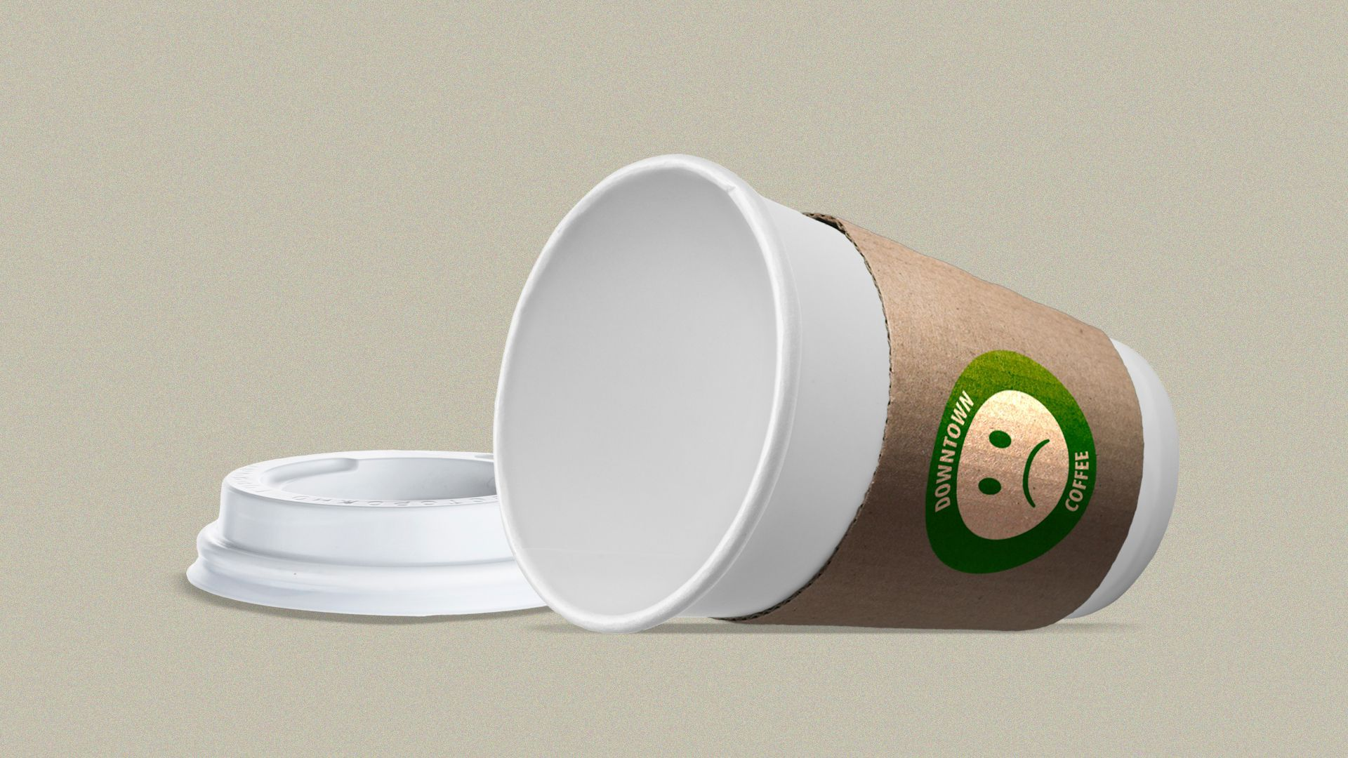 """Illustration of an overturned, empty coffee cup, with a sad face and the words """"Downtown Coffee"""" on it."""