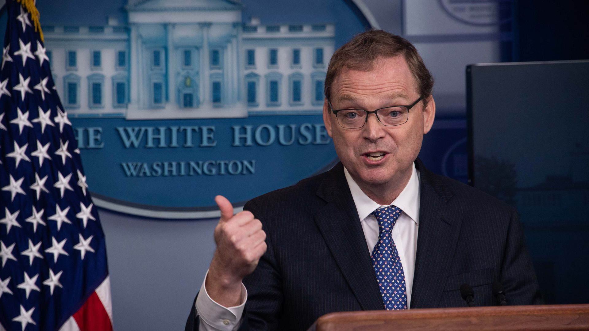Kevin Hassett, Chairman of the Council of Economic Advisers, speaks during a briefing at the White House in Washington, DC, on September 10, 2018.
