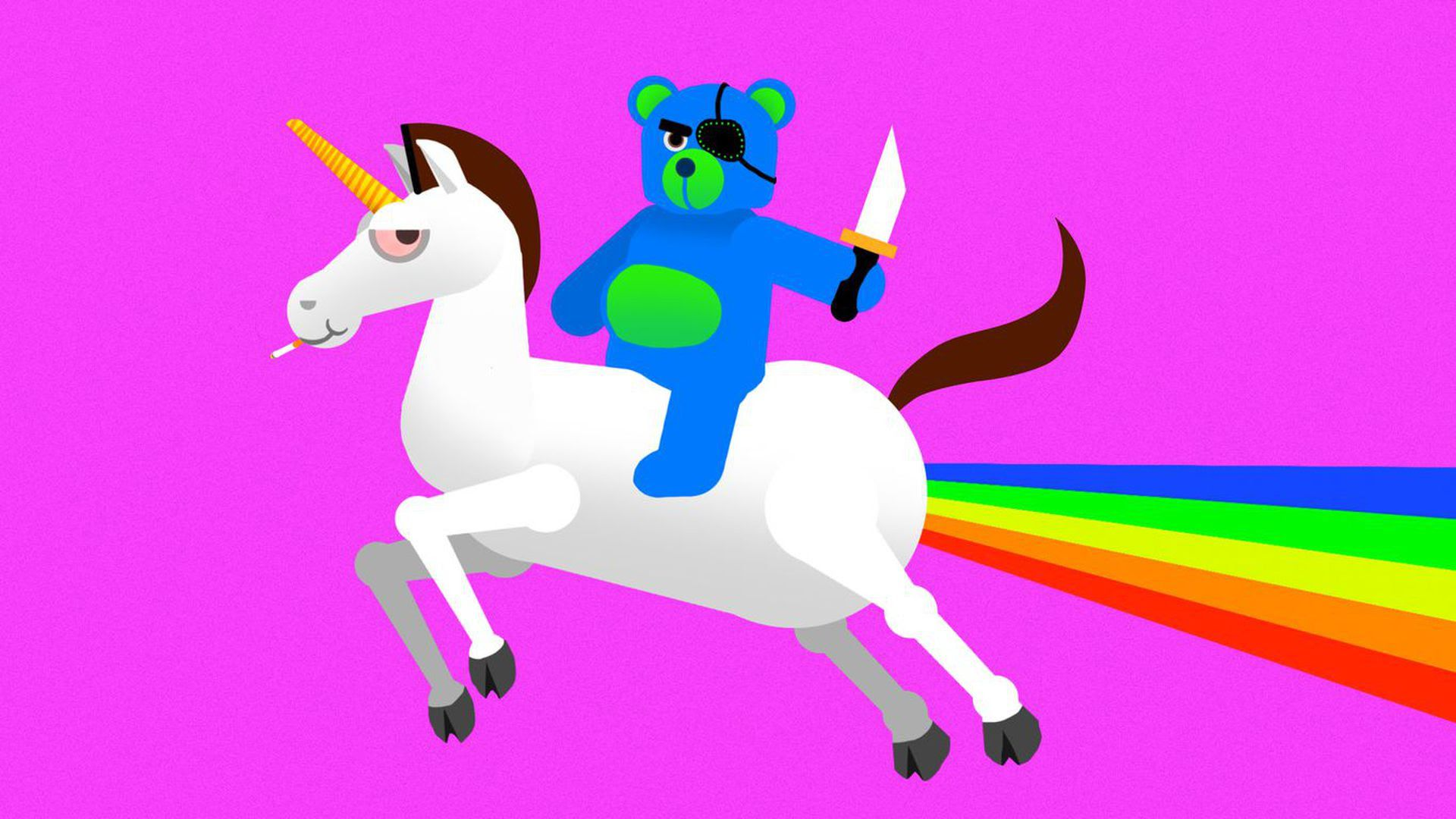 A child-like illustration of a bear on a unicorn with a rainbow in the background.