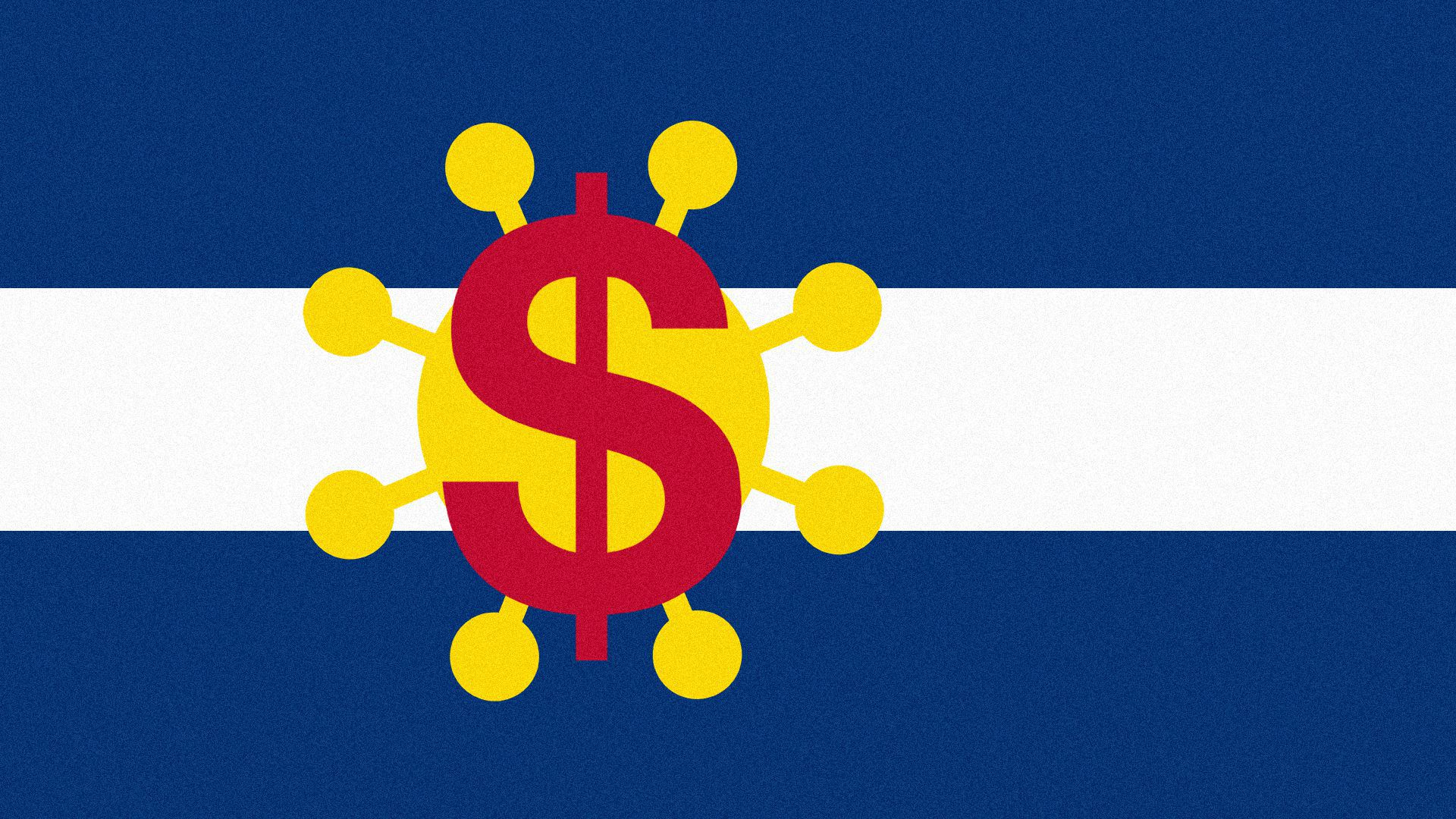 Illustration of the Colorado flag with a dollar sign and the coronavirus instead of a C and the sun.