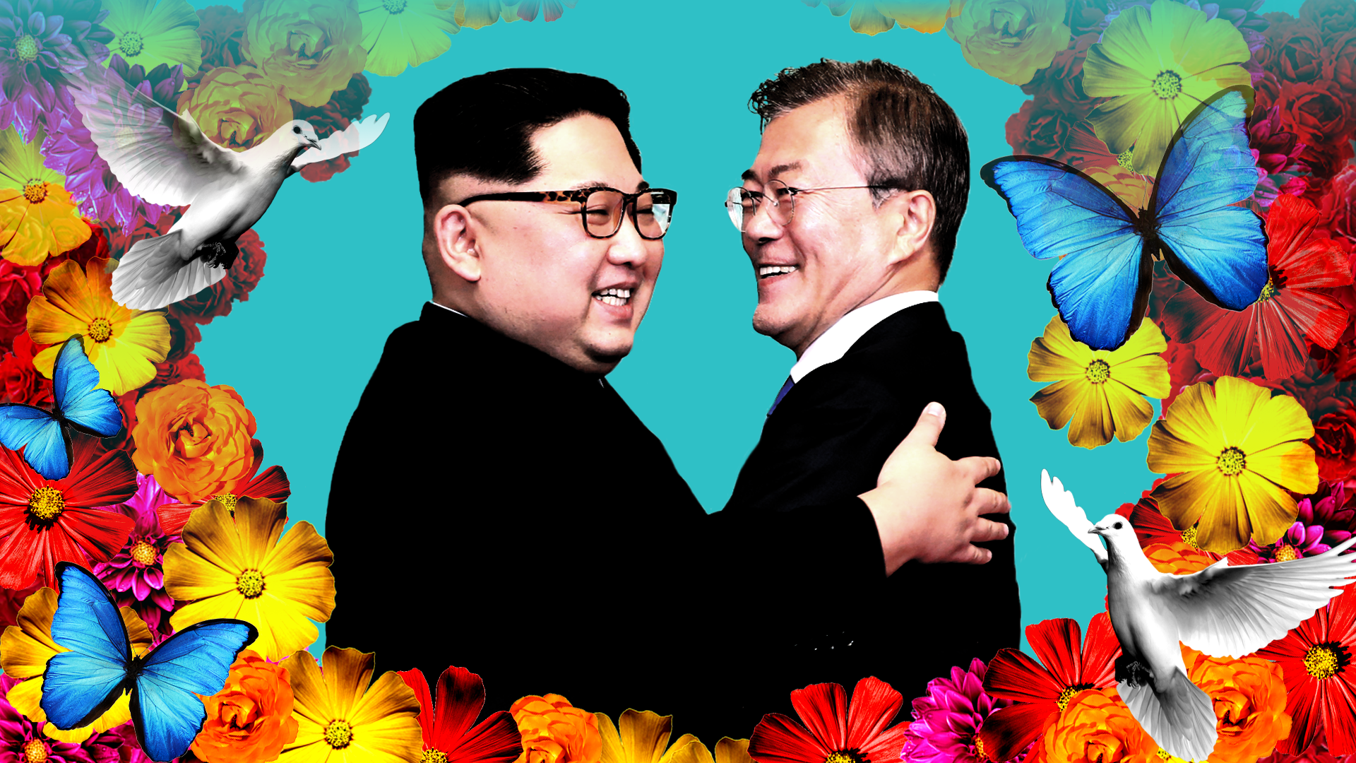 North Korean leader Kim Jong-un and South Korean President Moon Jae-in, with flowers and doves