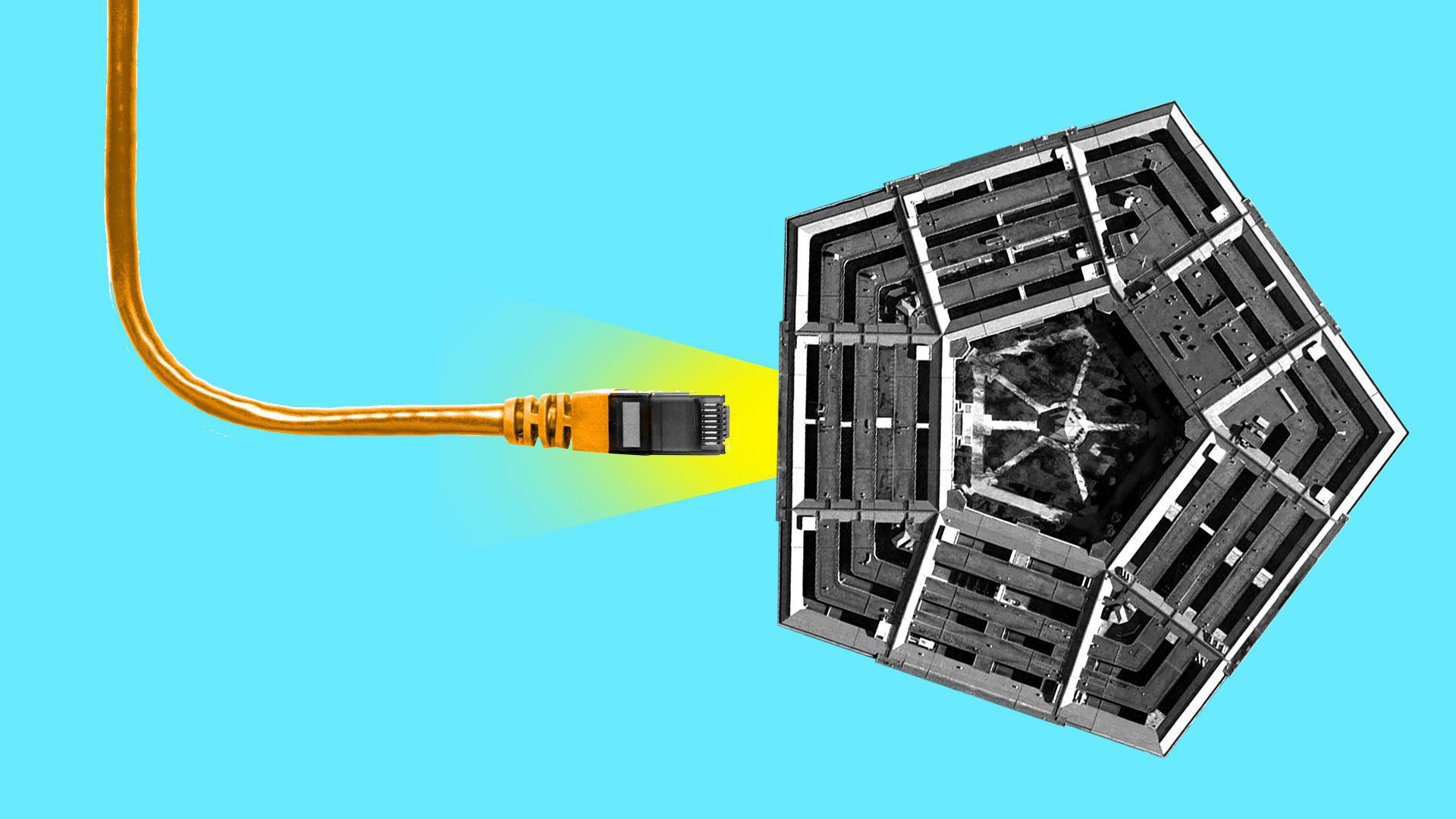 An illustration of an Ethernet cable being plugged into the Pentagon