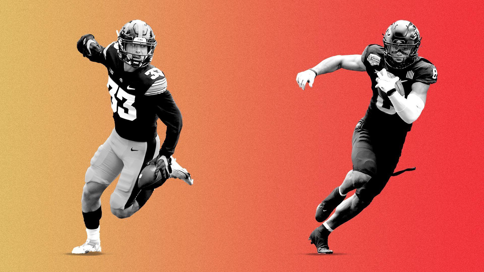 Photo illustration of Iowa cornerback Riley Moss and Iowa State wide receiver Xavier Hutchinson.
