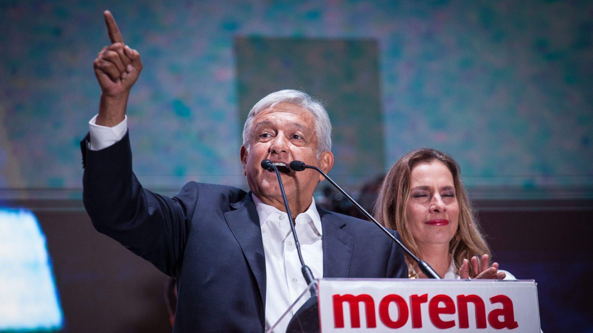 President elect of Mexico, Andres Manuel Lopez Obrador speaks during the celebration event, at the end of the Mexico 2018 Presidential Election on July 1, 2018 in Mexico City, Mexico.