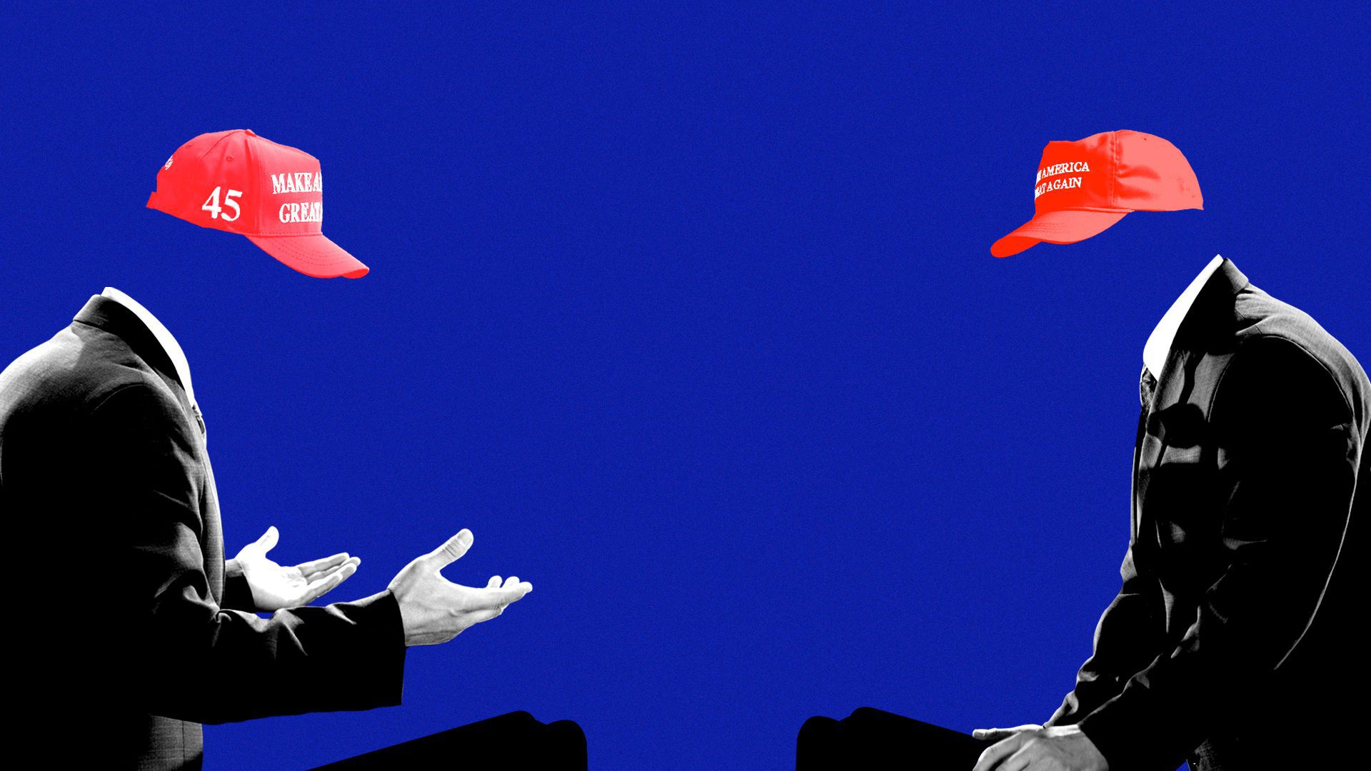 Photo illustration of two headless political candidates wearing MAGA hats and debating.