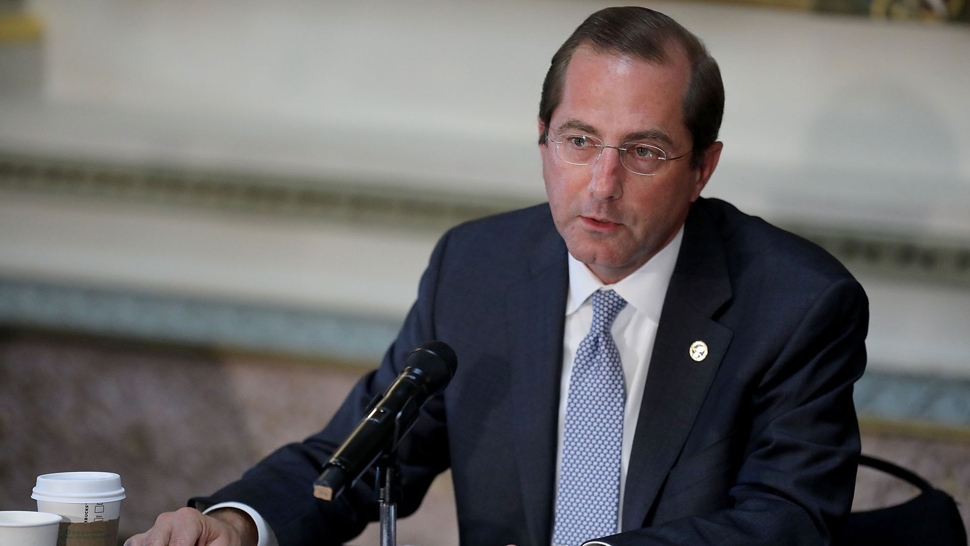 This is Health and Human Service Secretary Alex Azar, talking into a microphone