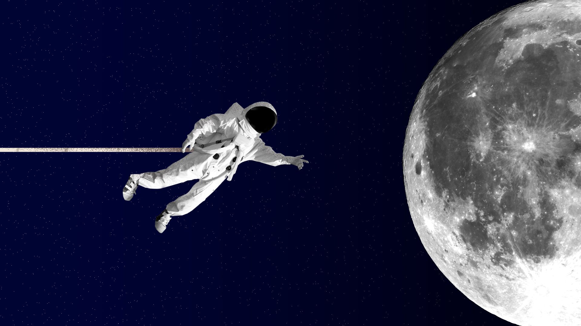 Illustration of an astronaut reaching out for the moon.