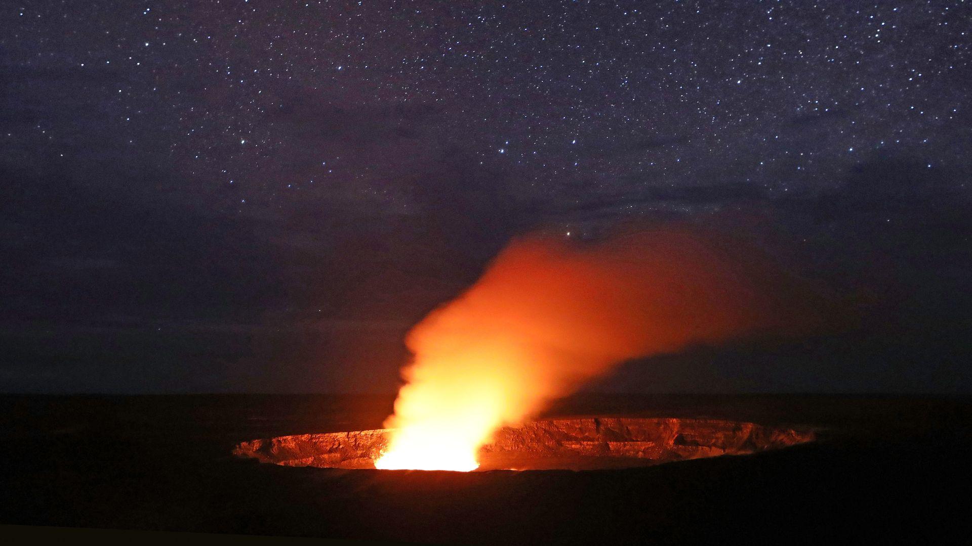 Kilauea causing a plume to rise