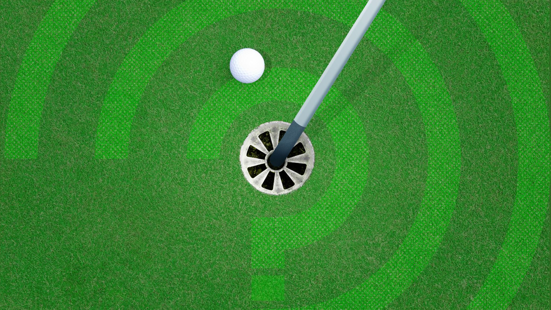 Illustration of golf hole with question marks in the turf around it