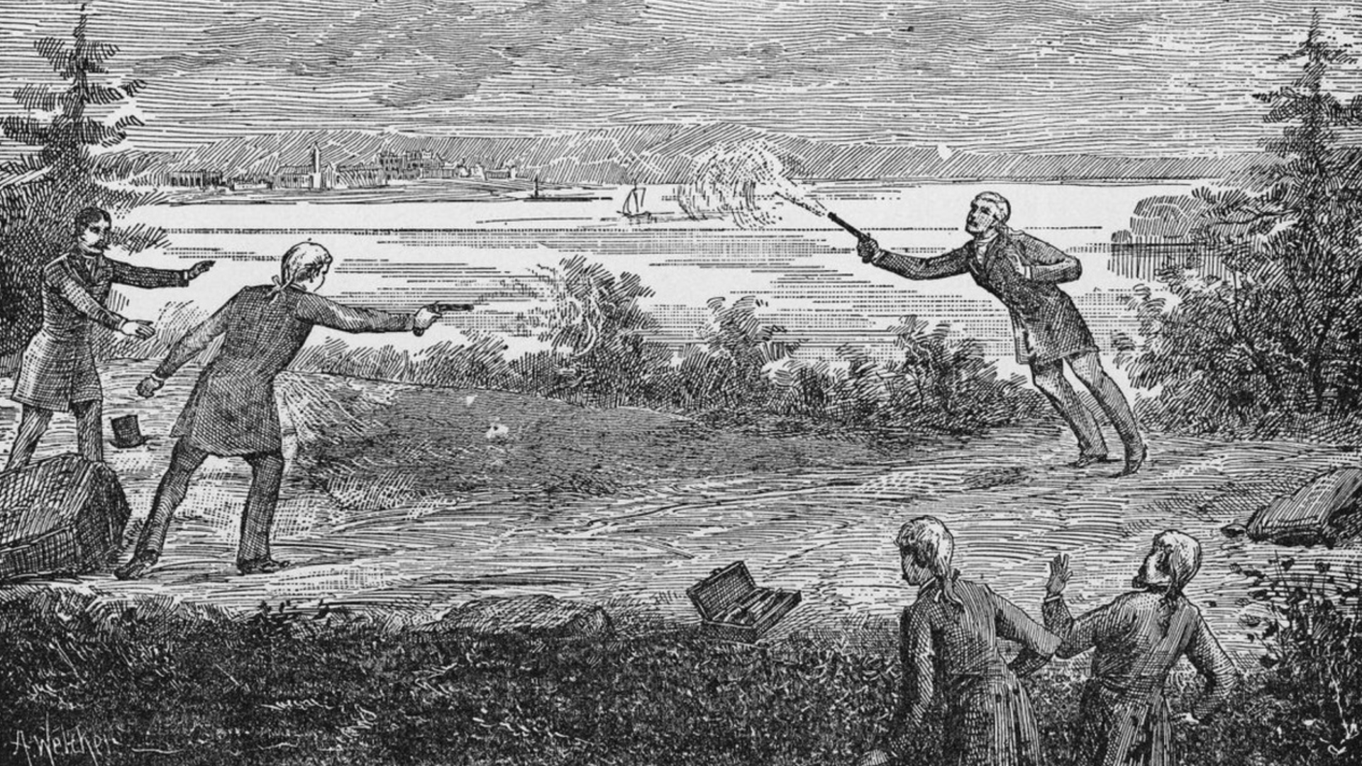 Vice President Aaron Burr fatally wounds Alexander Hamilton during a pistol duel in Weehawken, N.J., on July 11, 1804.