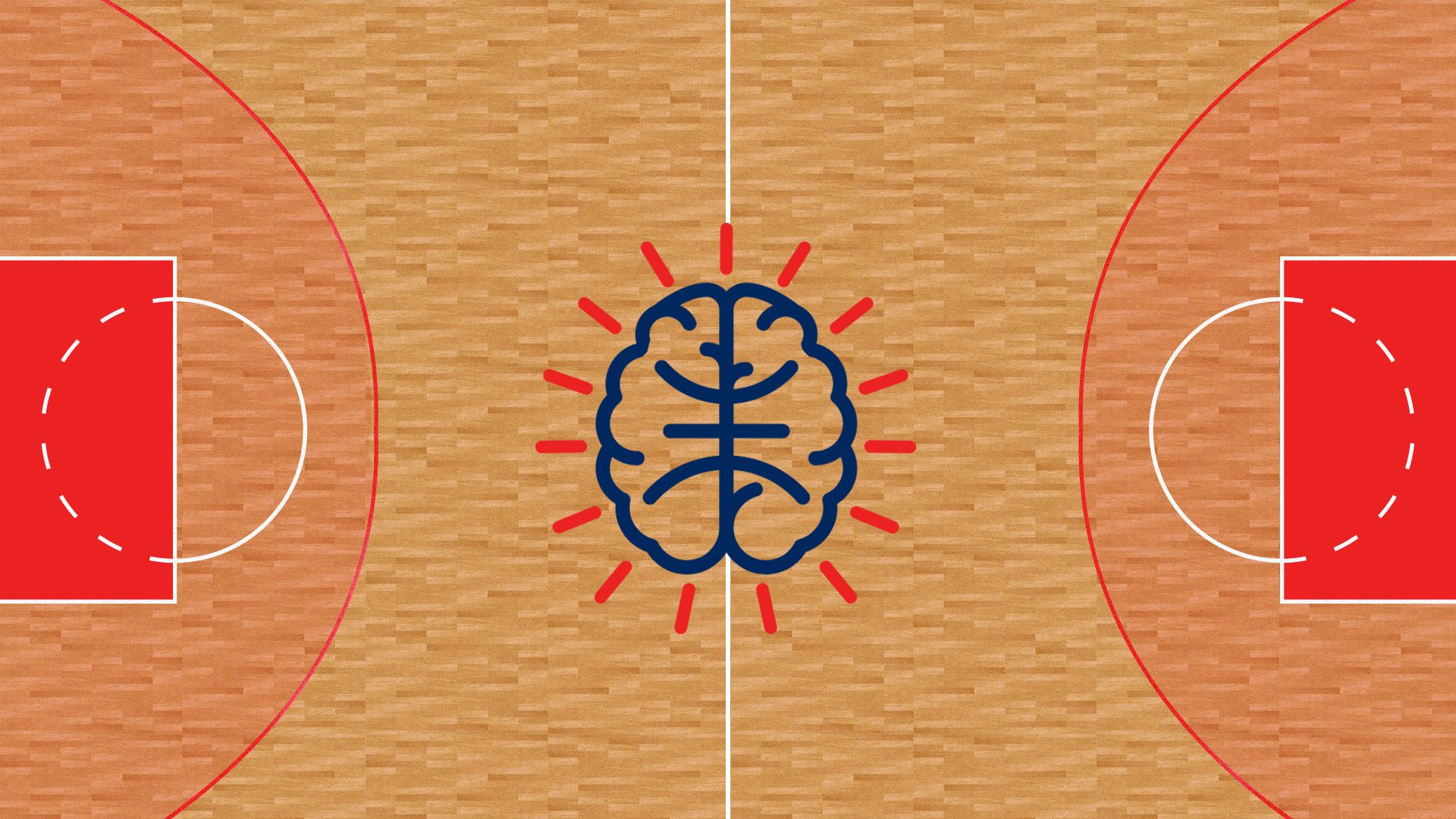 A brain painted at a half court