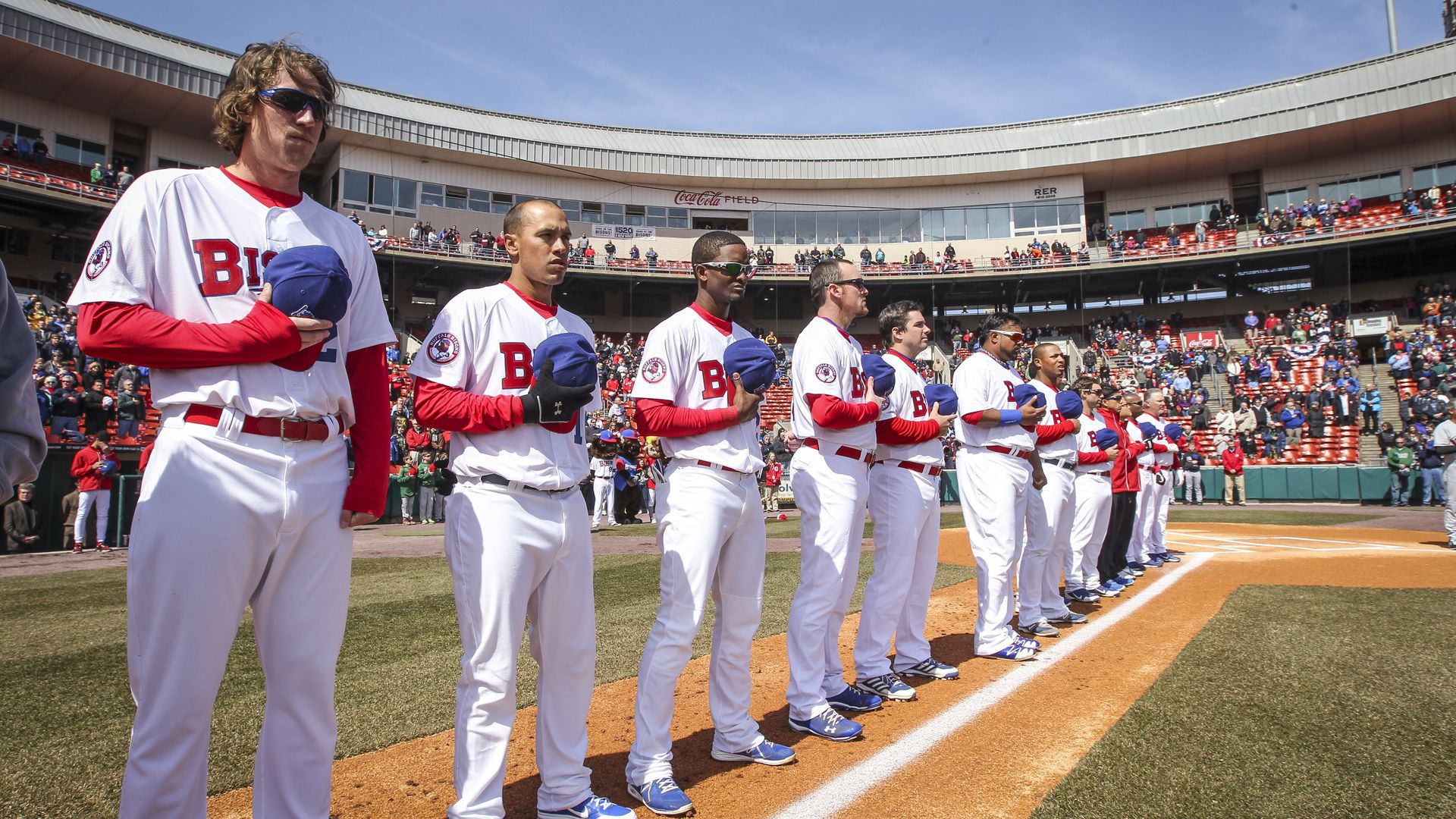 The Buffalo Bisons (Blue Jays Triple-A affiliate) on Opening Day last season. Photo: David Cooper/Toronto Star via Getty Images