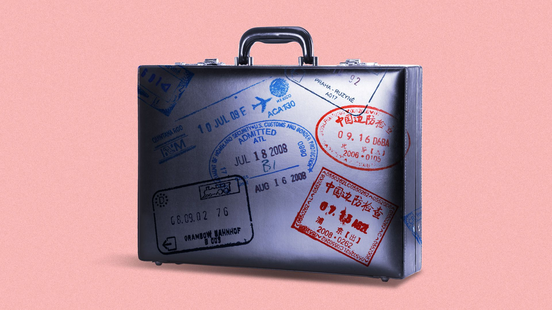 Illustration of a briefcase covered in passport stamps