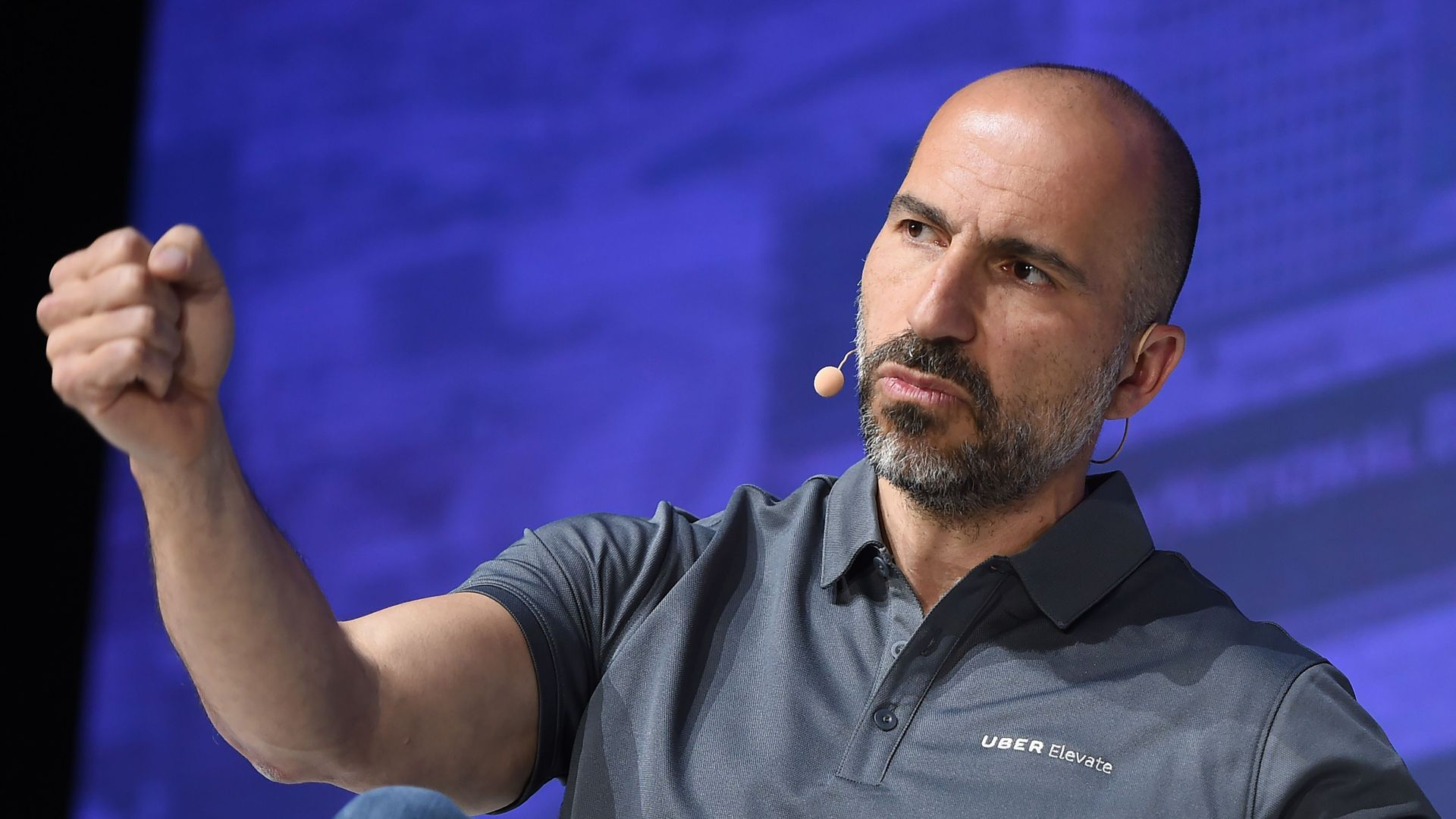 Uber Chief Executive Officer Dara Khosrowshahi speaks on stage during the second annual Uber Elevate Summit, on May 9, 2018