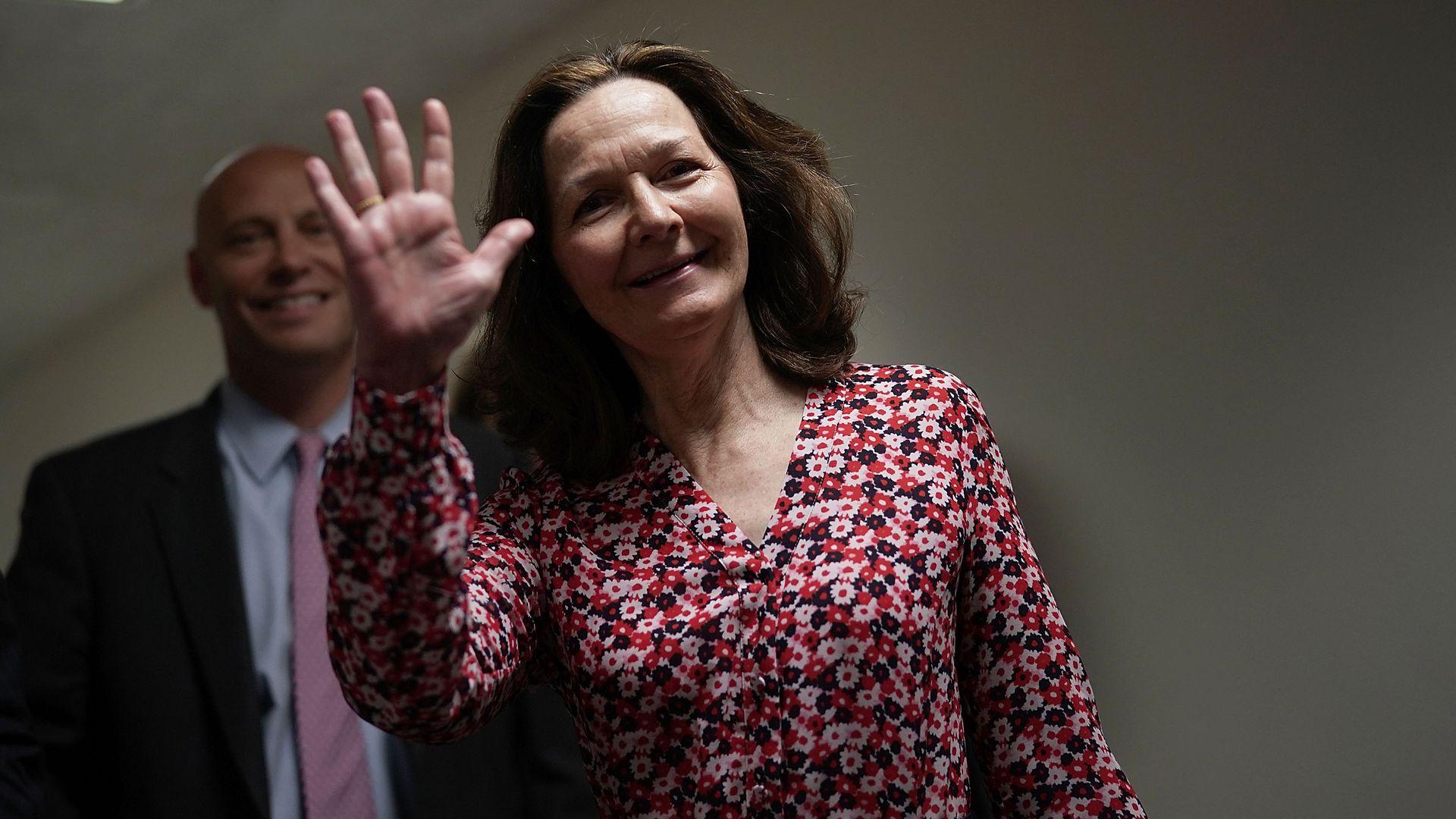 Gina Haspel waving.