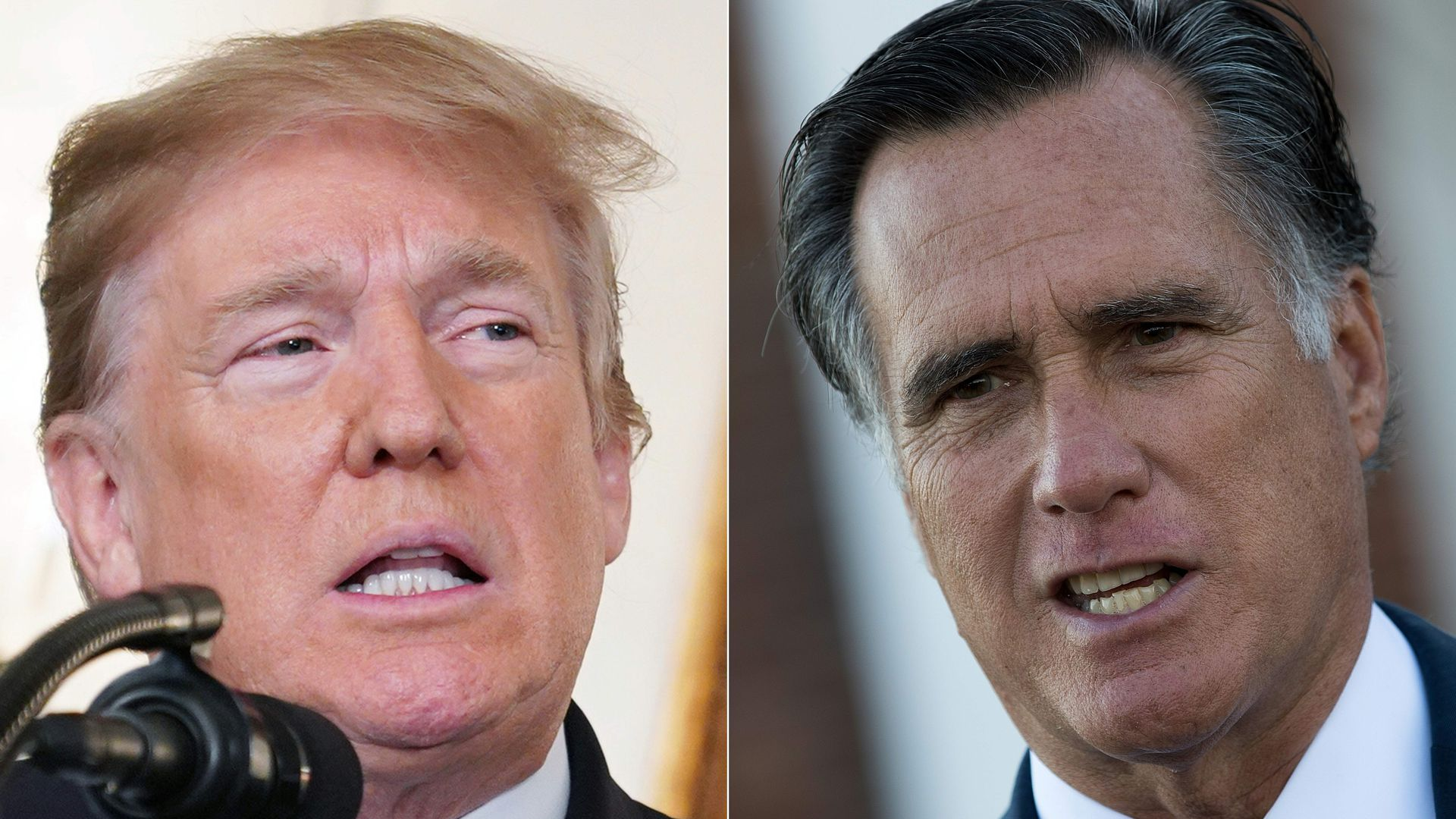 Donald Trump and Mitt Romney photos cropped together