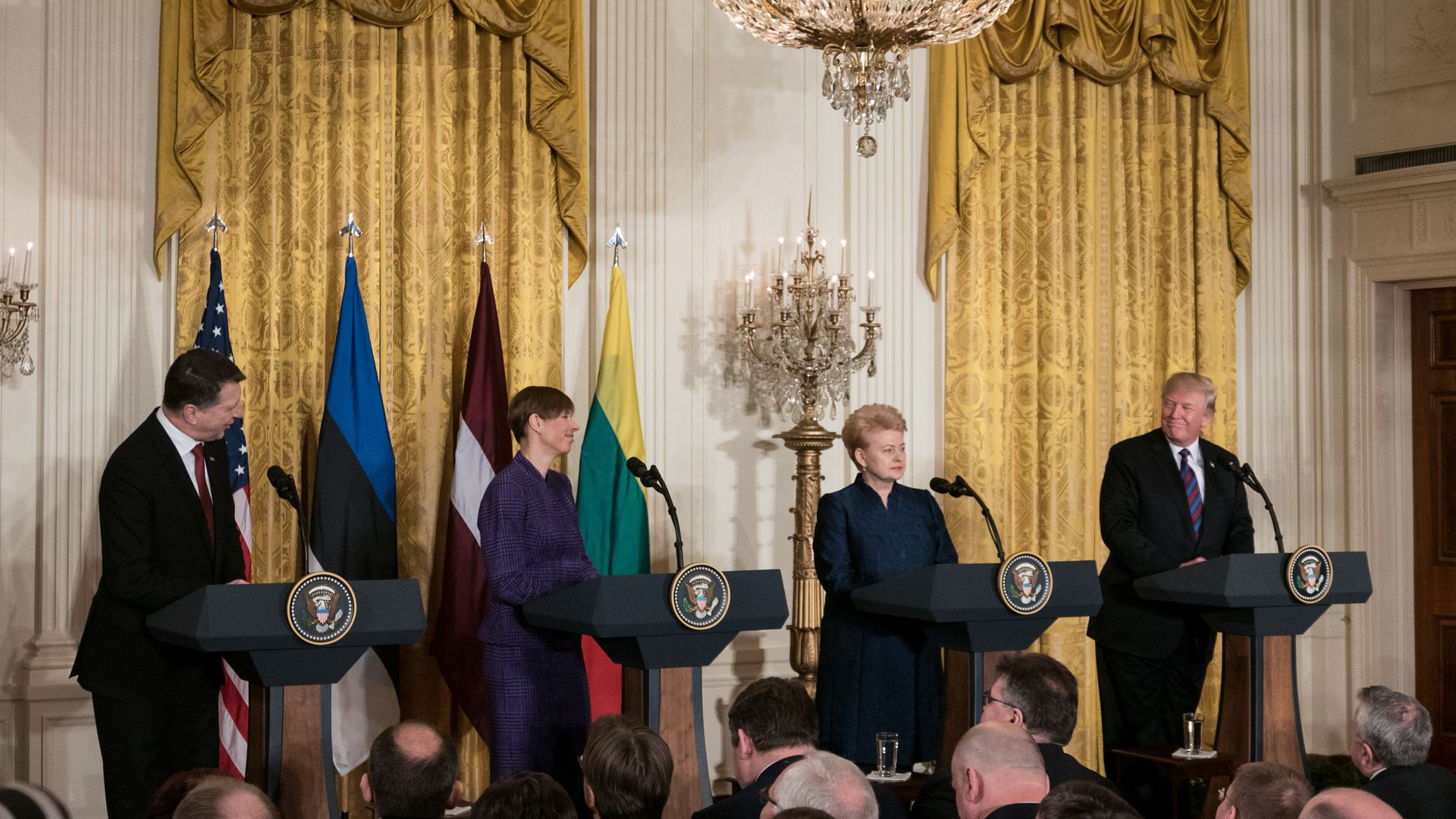 President Trump meets the Baltic heads of state during a summit at the White House on April 3, 2018.