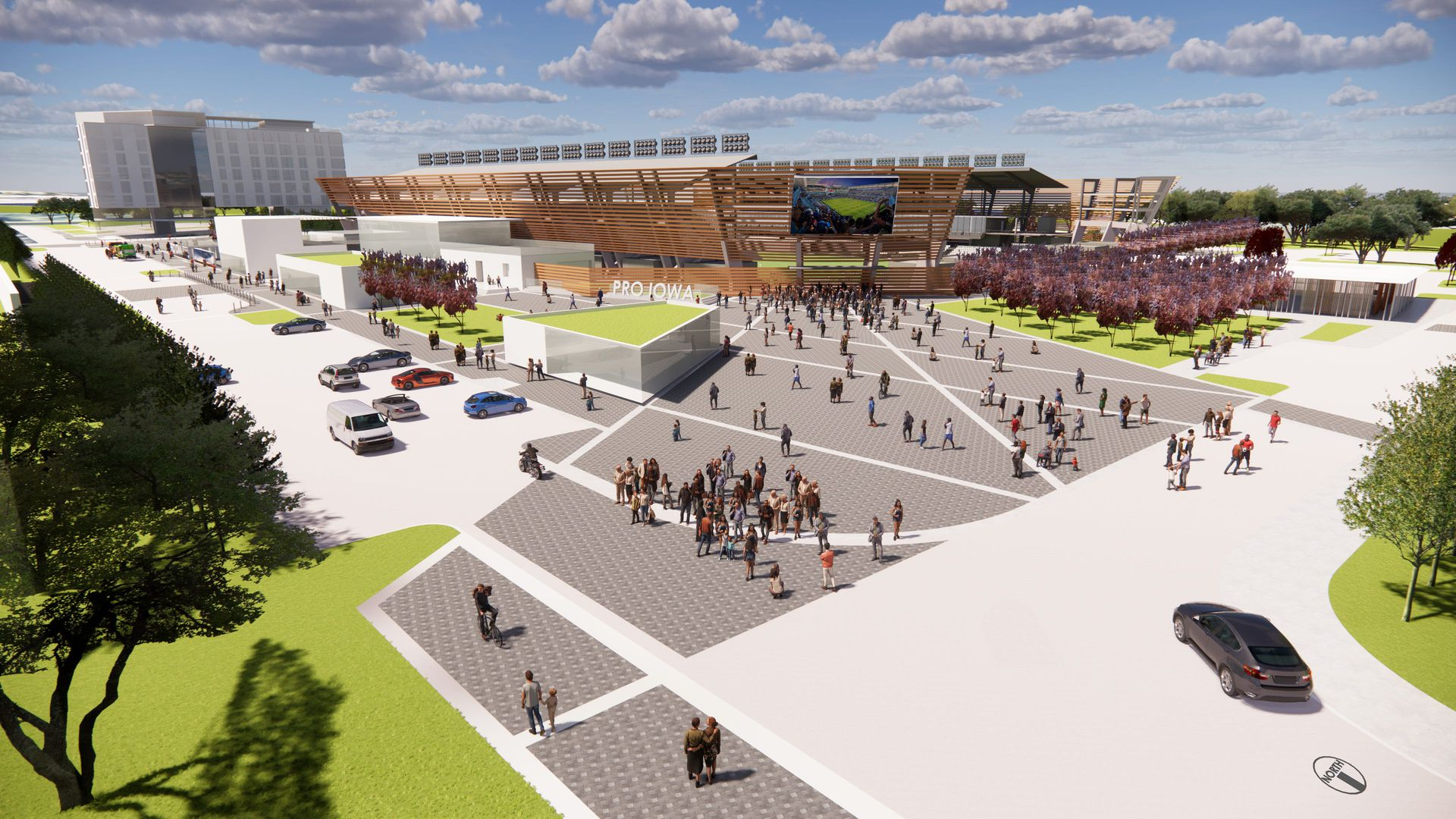 The Pro Iowa Stadium Global Plaza will be a festival hub for Des Moines.