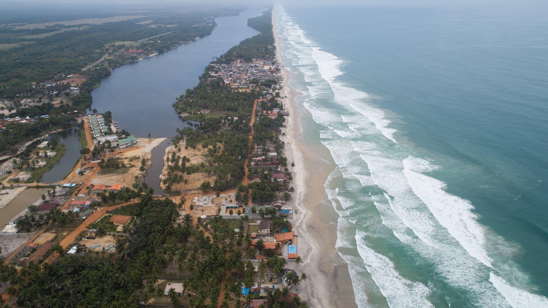 A drone photo shows the coastline in Abidjan, Ivory Coast on August 15, 2019. Ivory Coast,