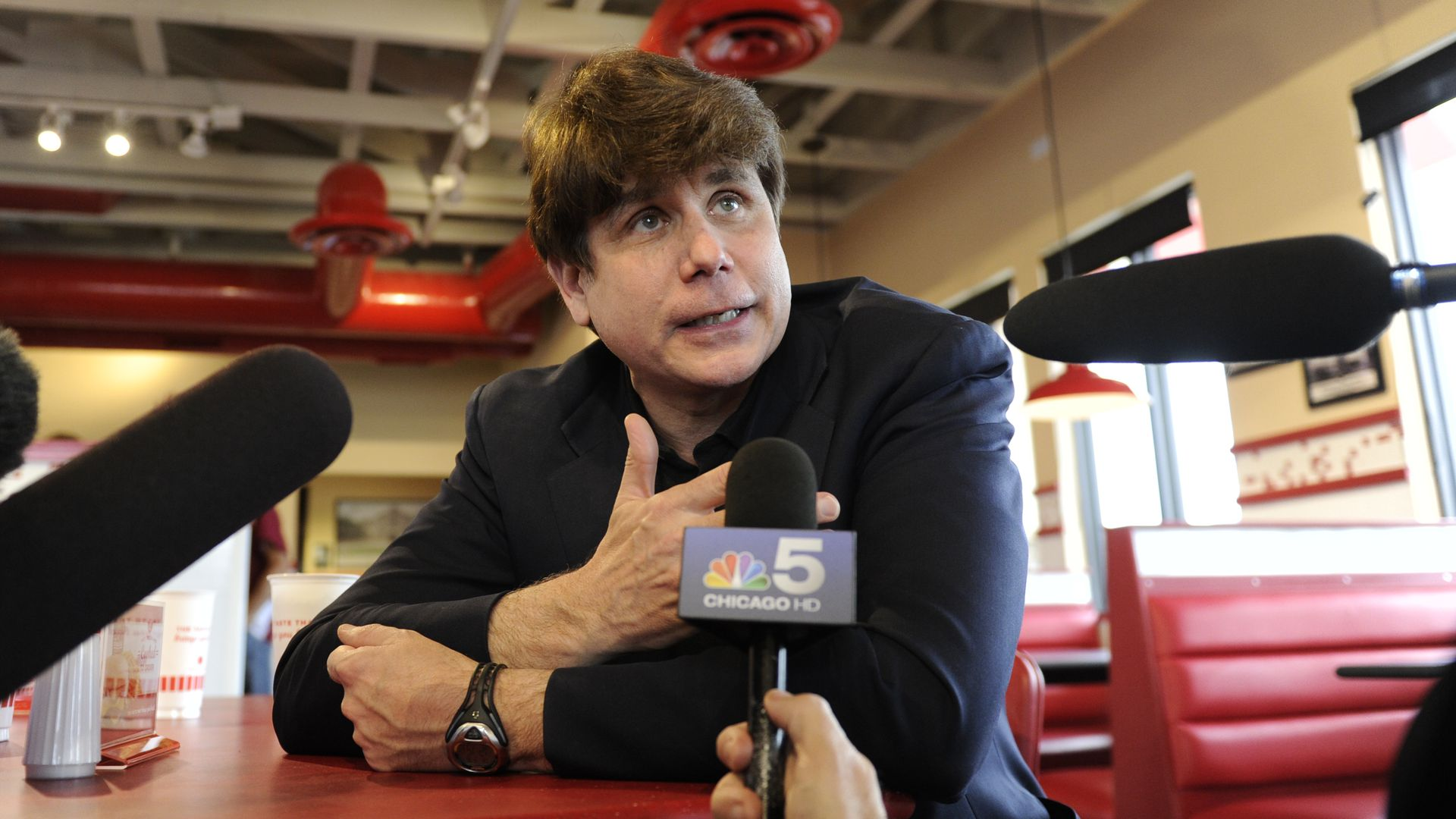 Former Illinois Gov. Rod Blagojevich at Freddy's Frozen Custard & Steakburgers before turning himself in to prison in Littleton, Colorado, to begin his 14-year prison sentence